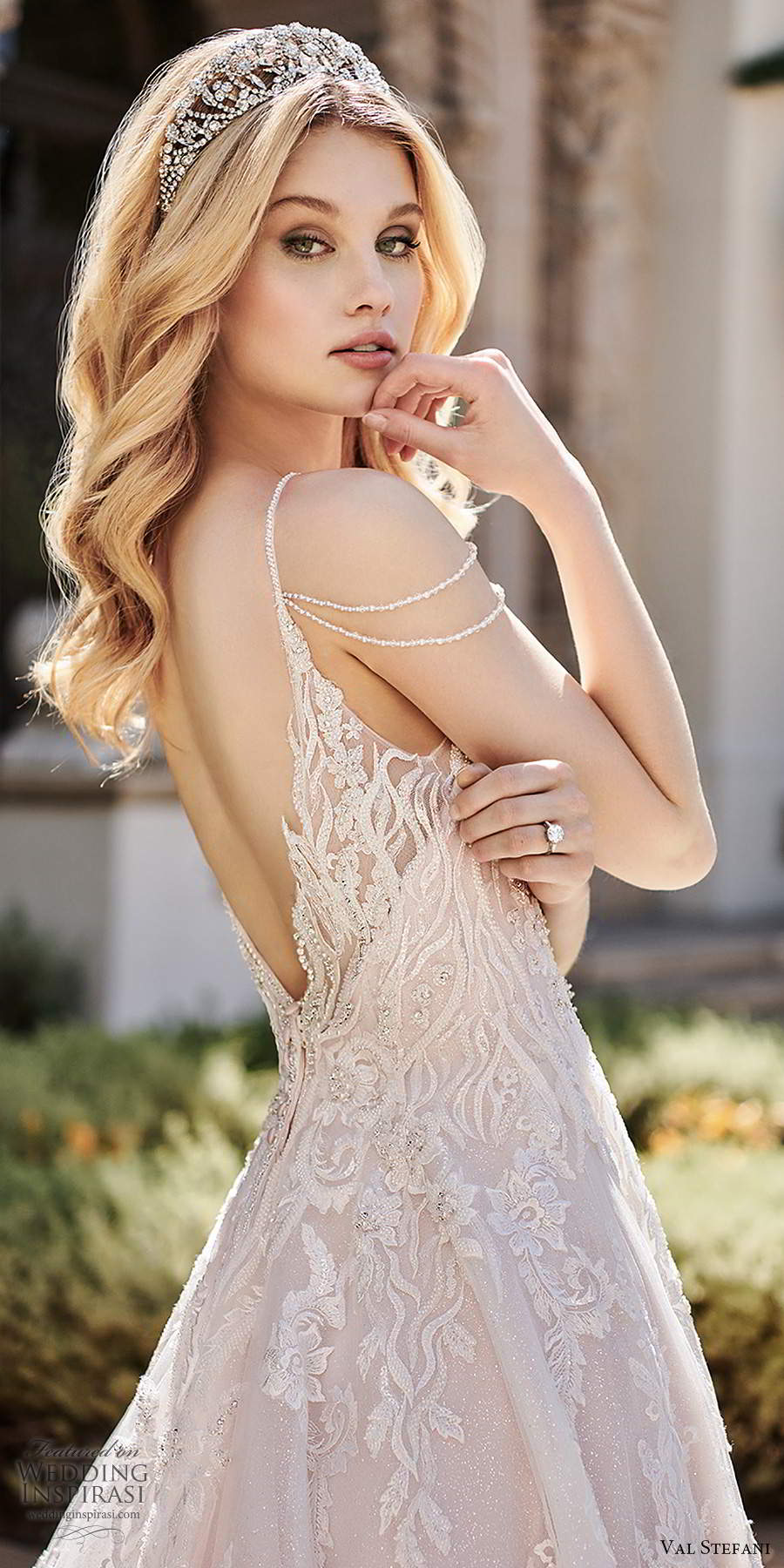 val stefani spring 2020 bridal cold shoulder sleeveless thin straps v neckline fully embellished a line ball gown wedding dress scoop back chapel train (5) zv