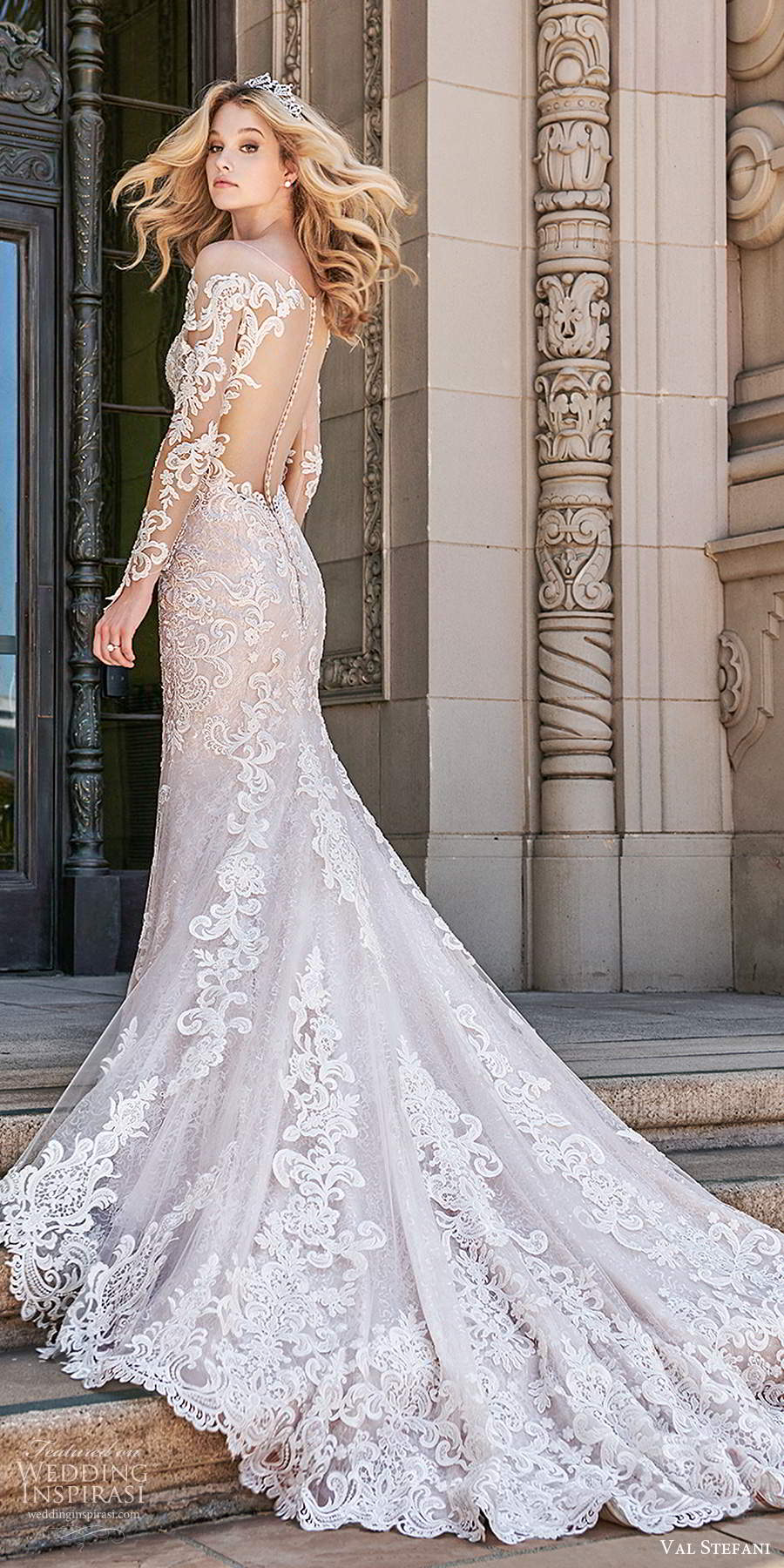 val stefani spring 2020 bridal illusion long sleeves sweetheart neckline fully embellished fit flare modified a line wedding dress illusion back cathedral train (1) bv