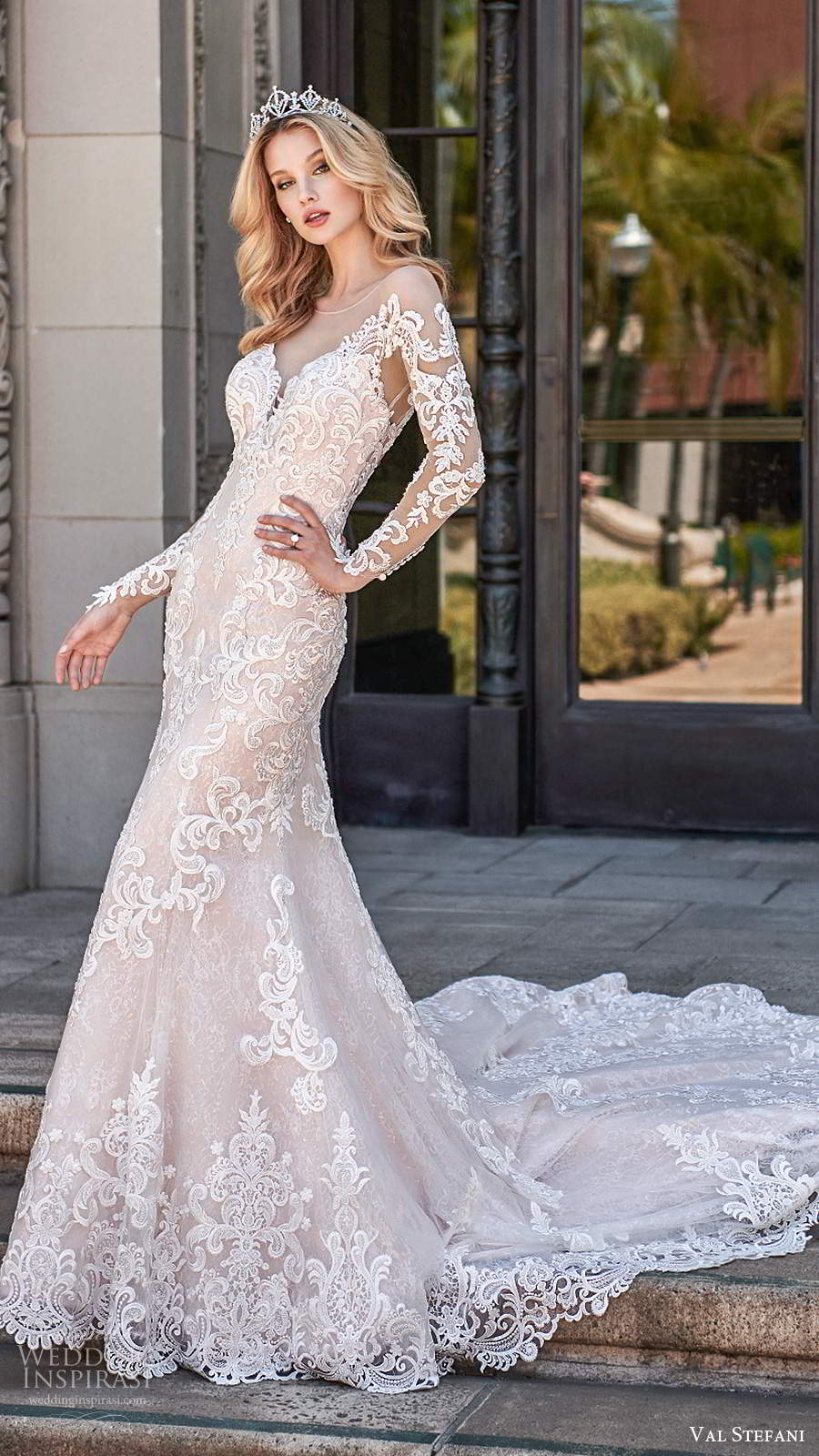 val stefani spring 2020 bridal illusion long sleeves sweetheart neckline fully embellished fit flare modified a line wedding dress illusion back cathedral train (1) mv