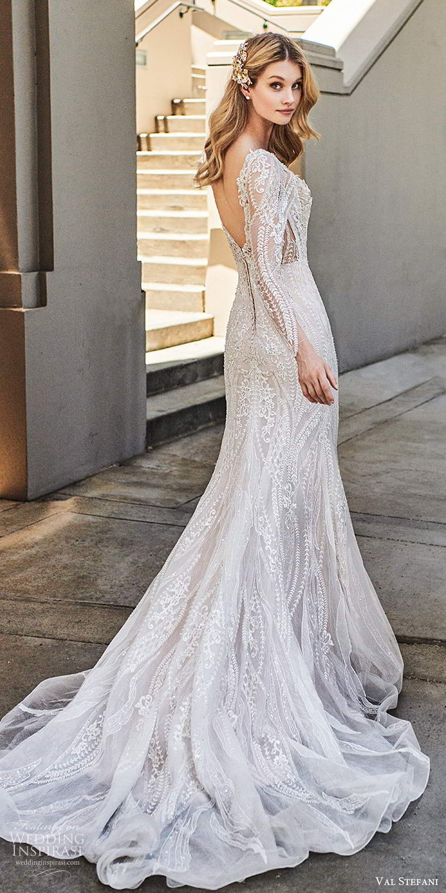 val stefani spring 2020 bridal illusion long sleeves sweetheart neckline fully embellished modified a line mermaid lace wedding dress chapel train (3) bv