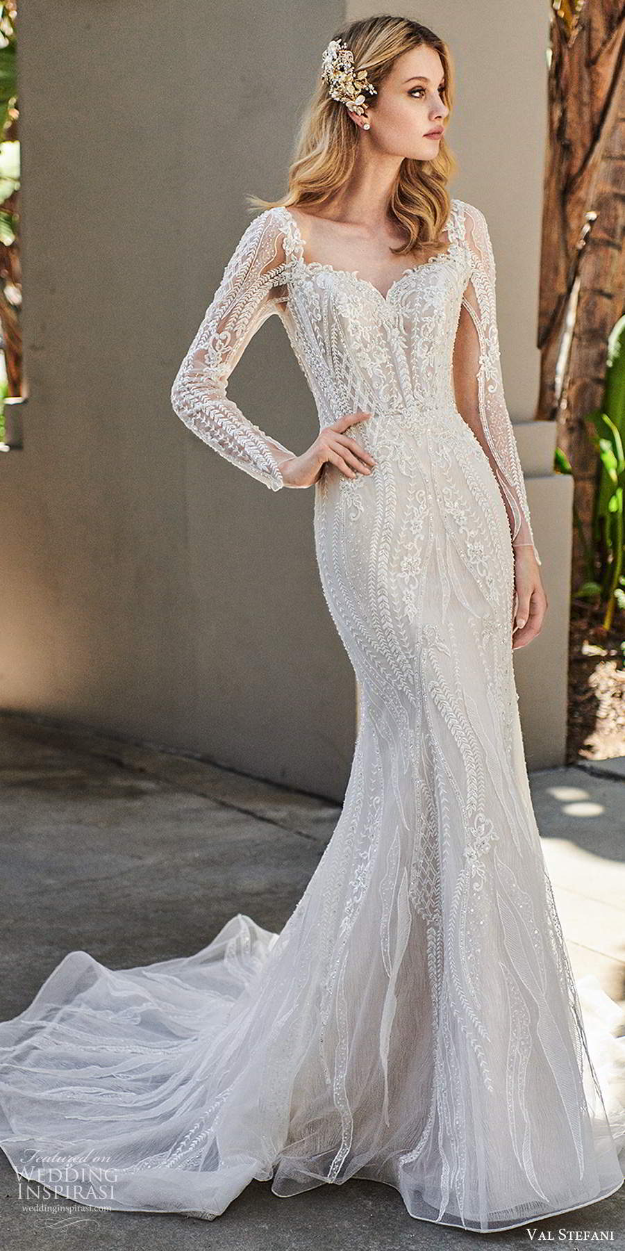 val stefani spring 2020 bridal illusion long sleeves sweetheart neckline fully embellished modified a line mermaid lace wedding dress chapel train (3) fv
