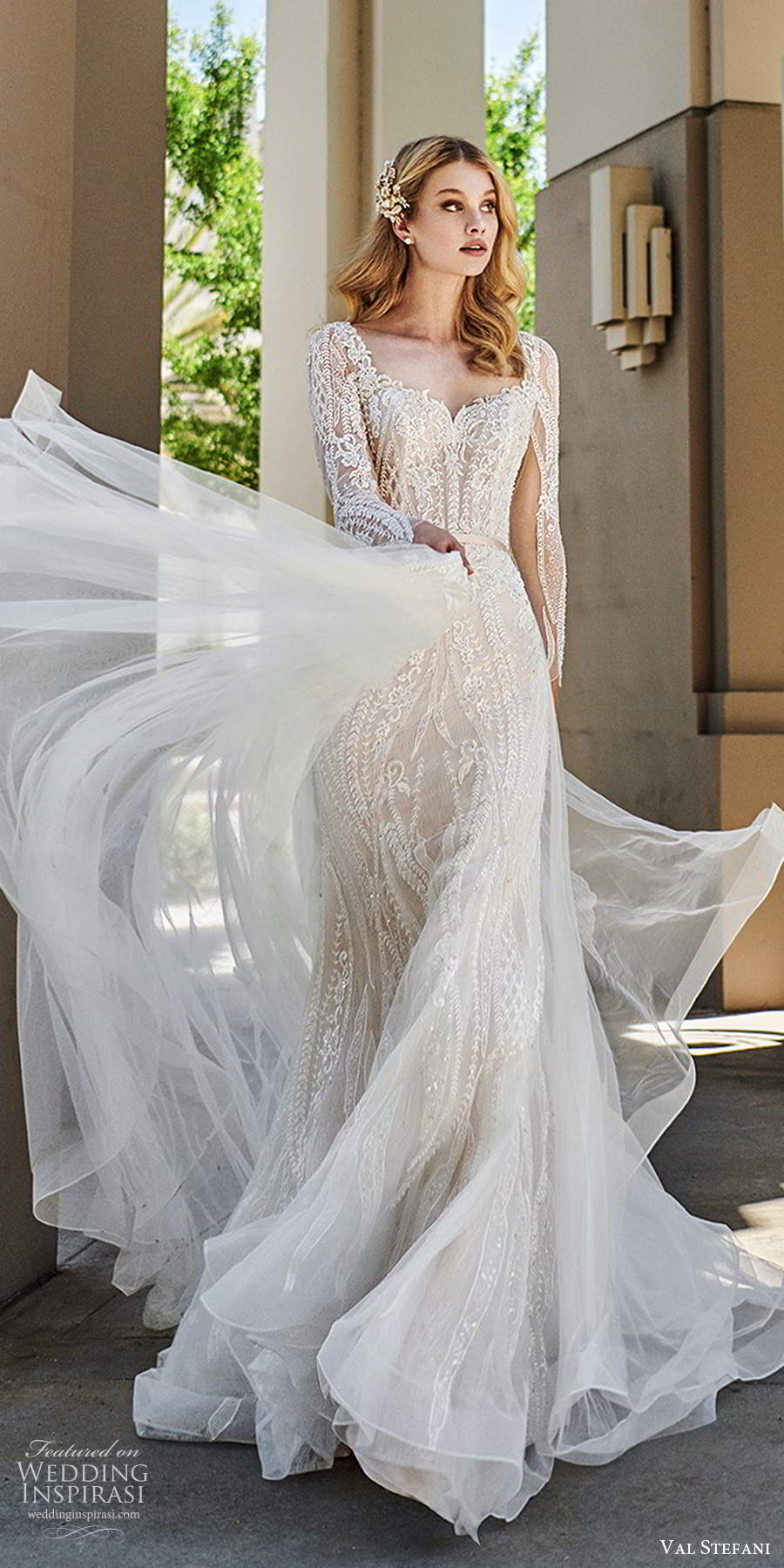 val stefani spring 2020 bridal illusion long sleeves sweetheart neckline fully embellished modified a line mermaid lace wedding dress chapel train (3) mv