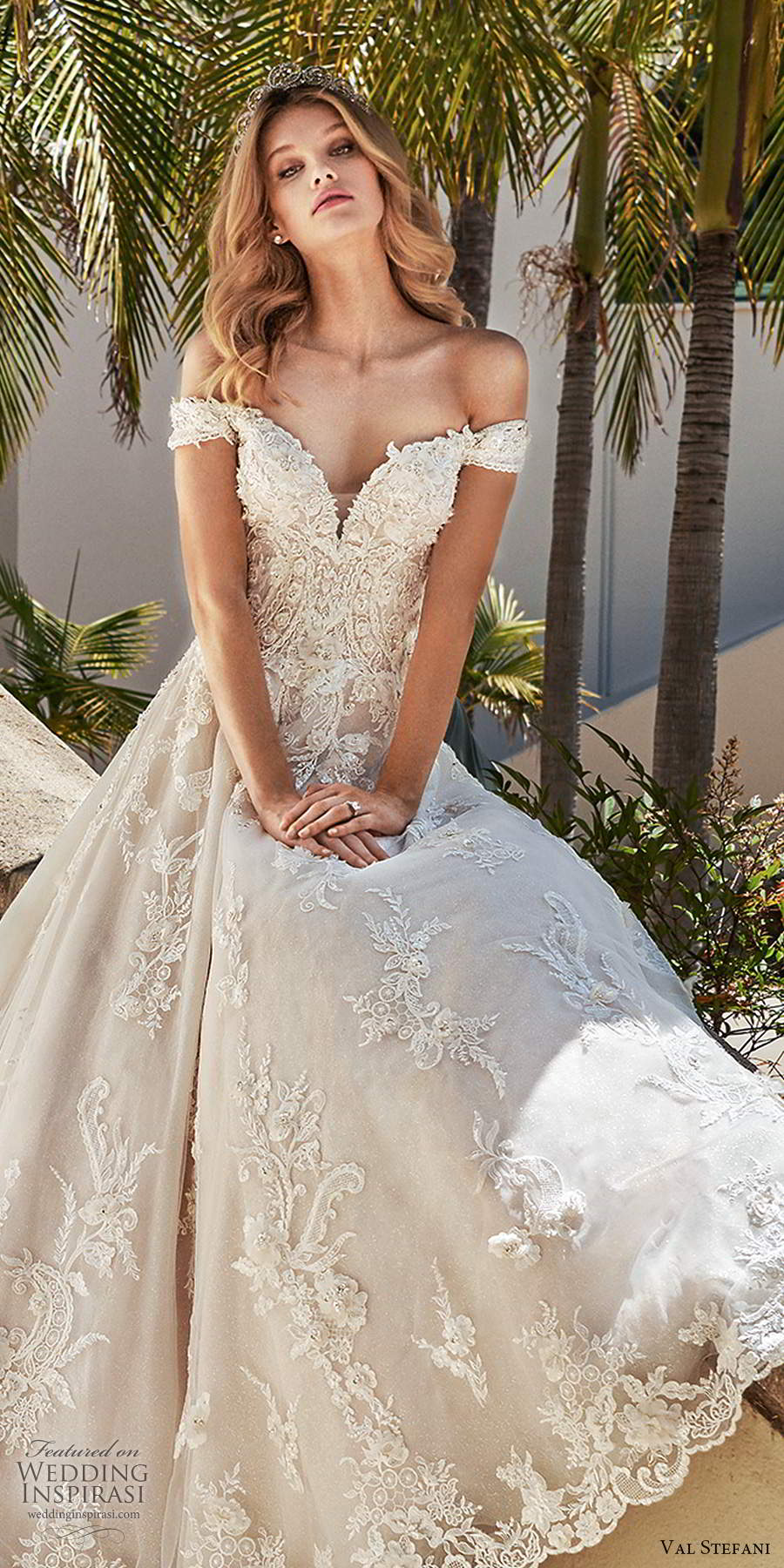 val stefani spring 2020 bridal off shoulder cap sleeves sweetheart neckline fully embellished lace a line ball gown wedding dress chapel train (7) lv