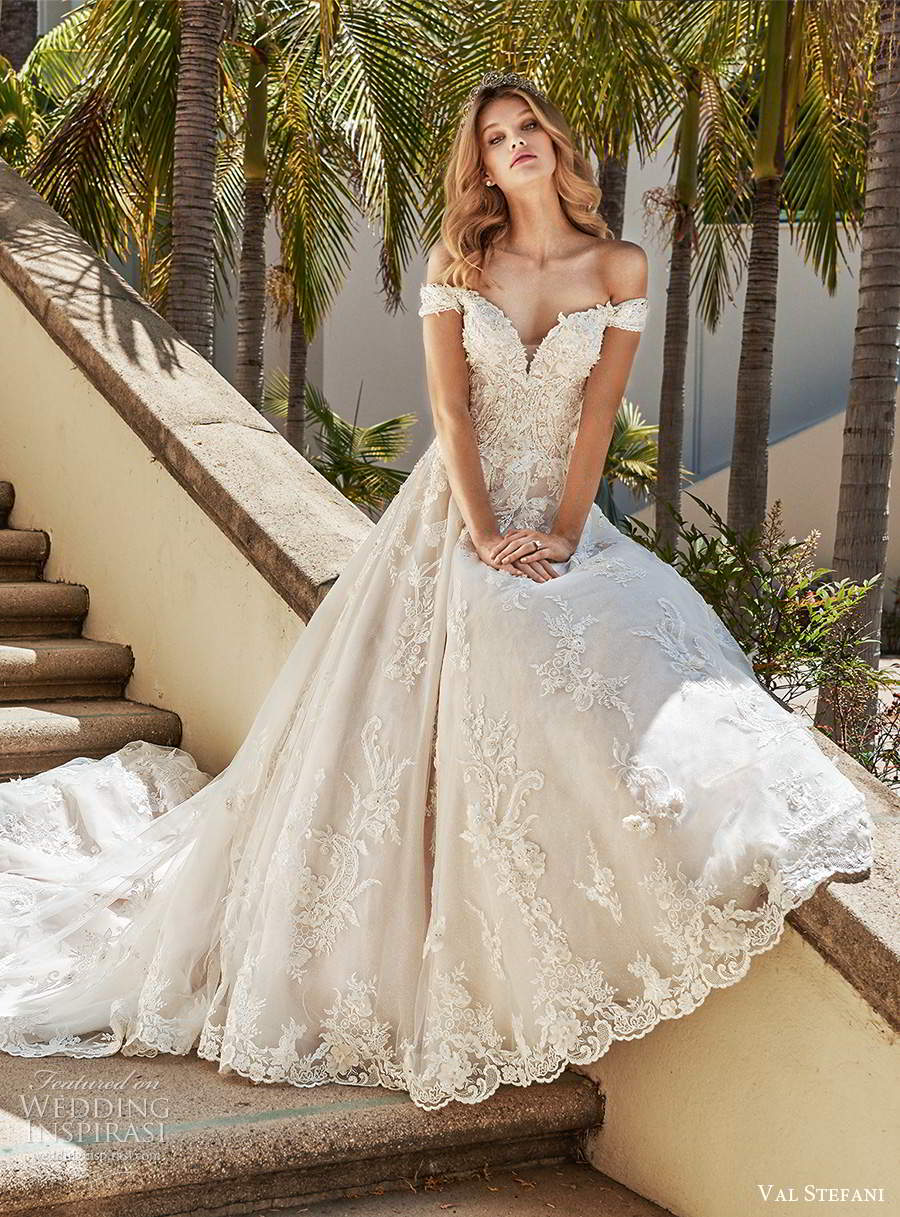 val stefani spring 2020 bridal off shoulder cap sleeves sweetheart neckline fully embellished lace a line ball gown wedding dress chapel train (7) mv