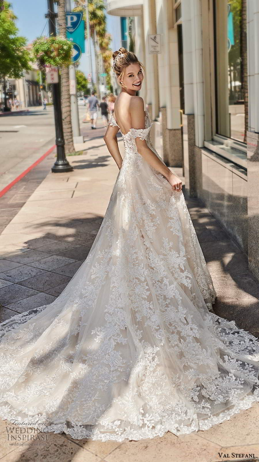 val stefani spring 2020 bridal off shoulder straps sweetheart neckline fully embellished lace a line ball gown wedding dress chapel train (8) bv