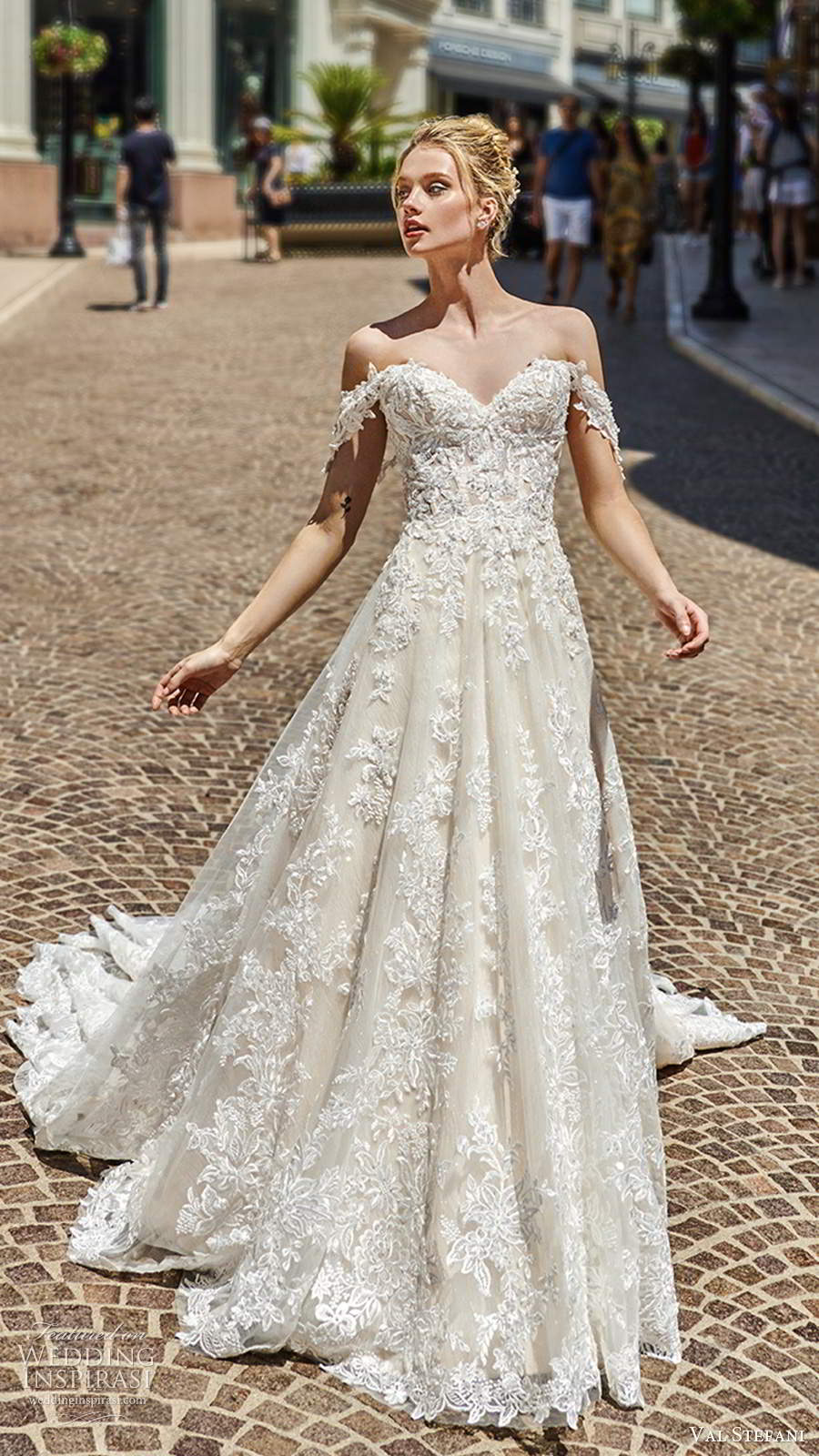val stefani spring 2020 bridal off shoulder straps sweetheart neckline fully embellished lace a line ball gown wedding dress chapel train (8) mv