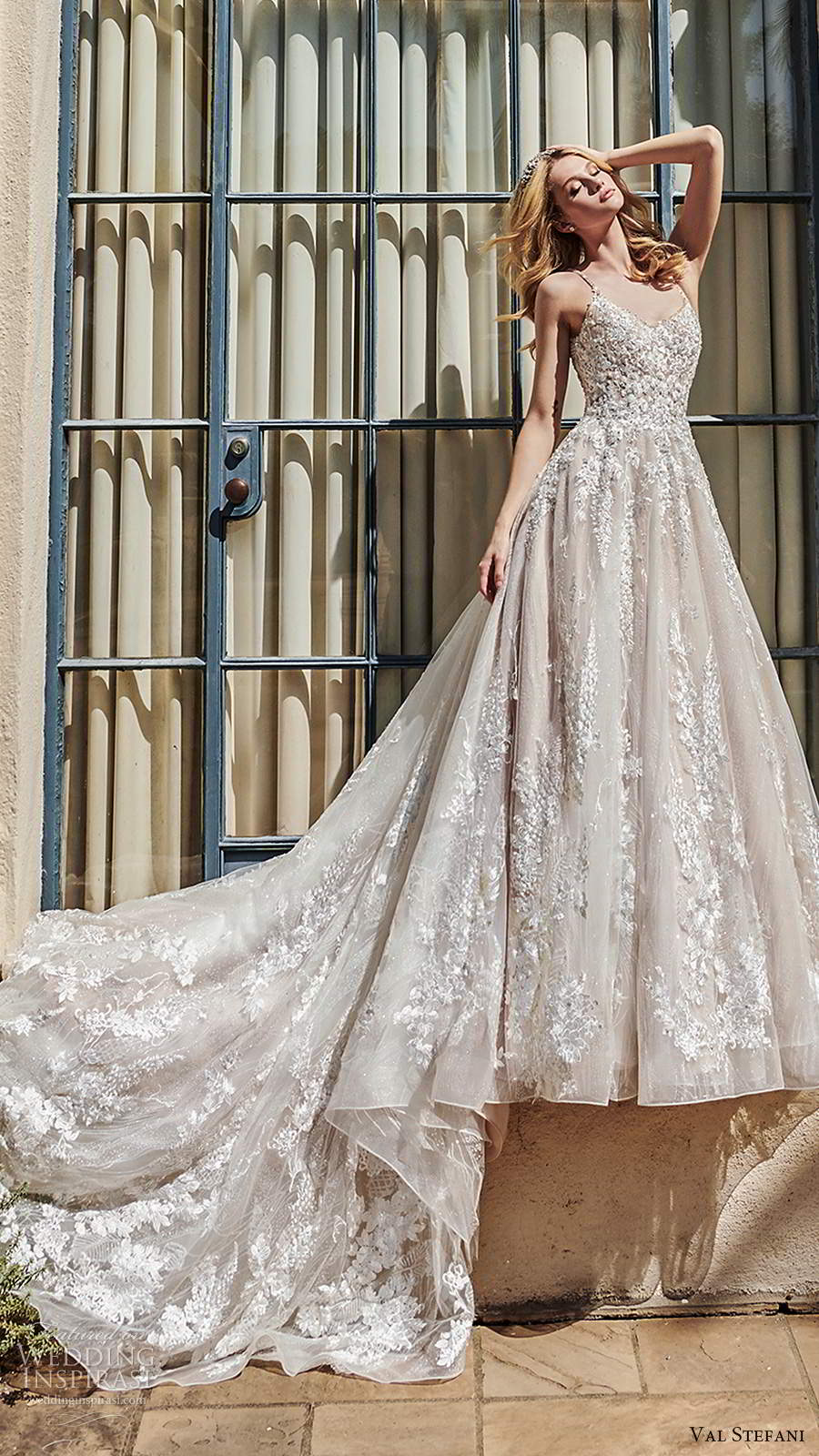 val stefani spring 2020 bridal sleeveless thin straps semi sweetheart fully embellished a line ball gown wedding dress scoop back chapel train (9) mv