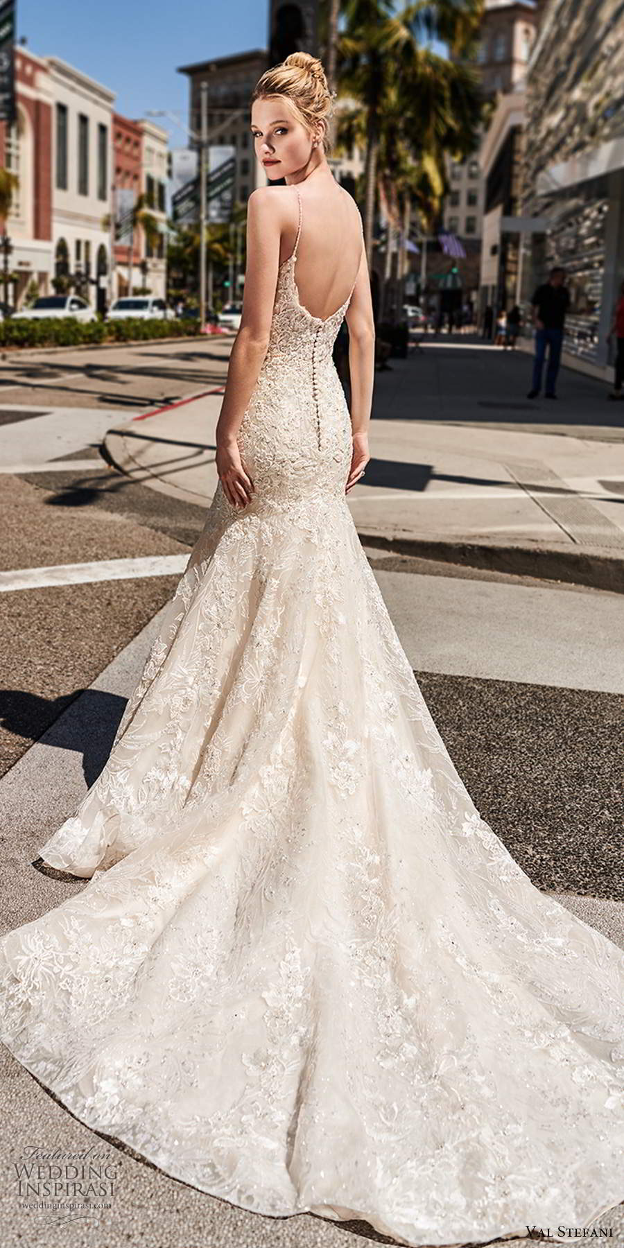 val stefani spring 2020 bridal sleeveless thin straps v neckline fully embellished lace fit flare trumpet a line wedding dress scoop back chapel train (4) bv