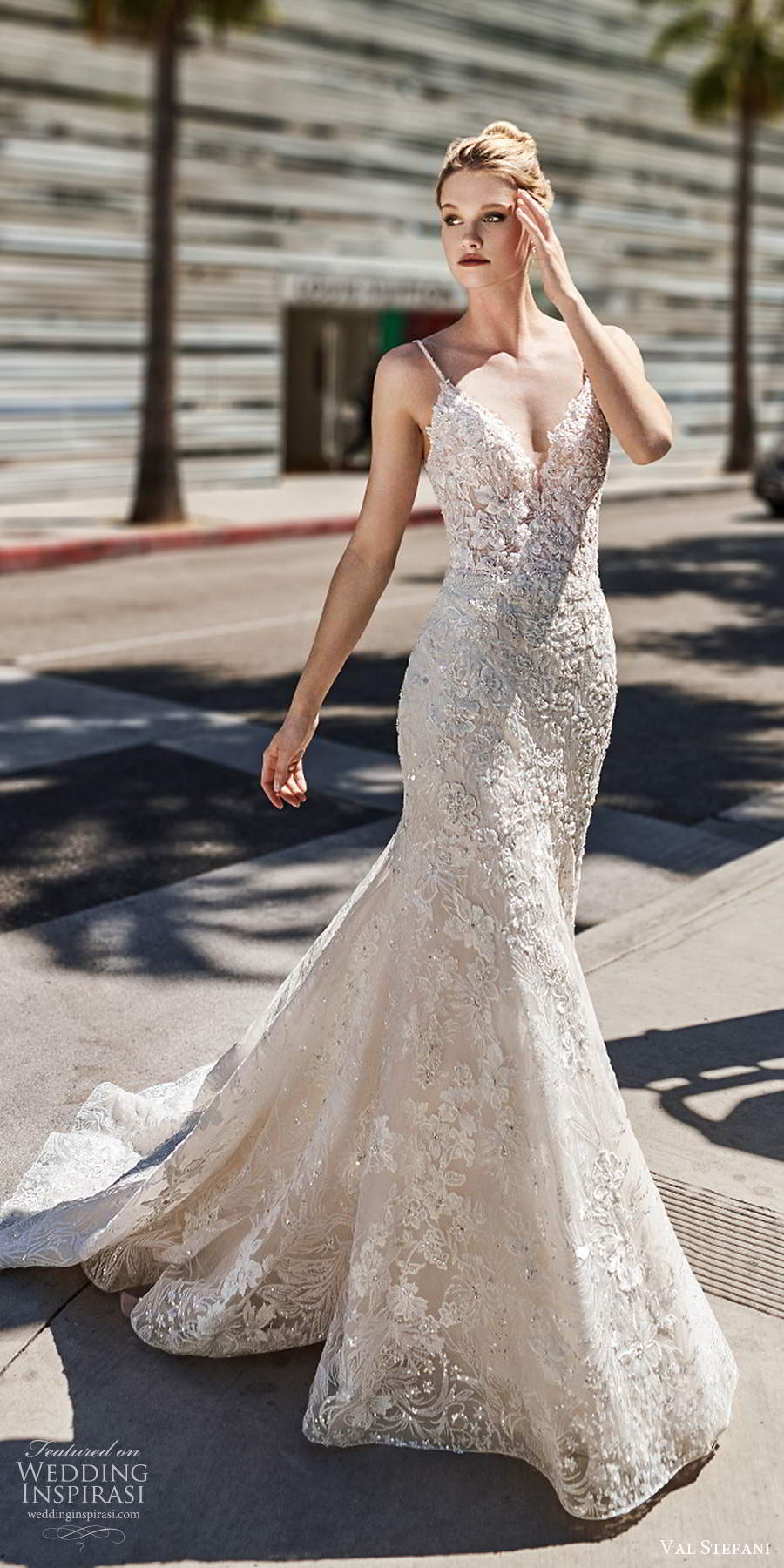 val stefani spring 2020 bridal sleeveless thin straps v neckline fully embellished lace fit flare trumpet a line wedding dress scoop back chapel train (4) mv