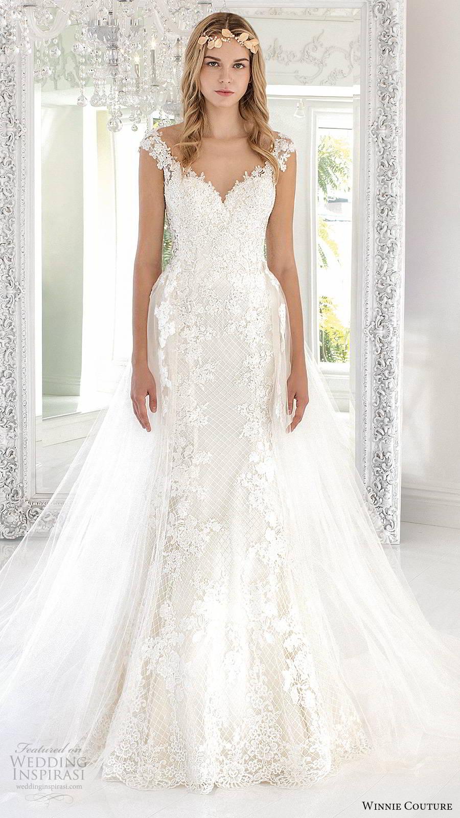 winnie couture 2019 bridal cap sleeves sweetheart neckline fully embellished lace sheath wedding dress a line overskirt chapel train (8) mv