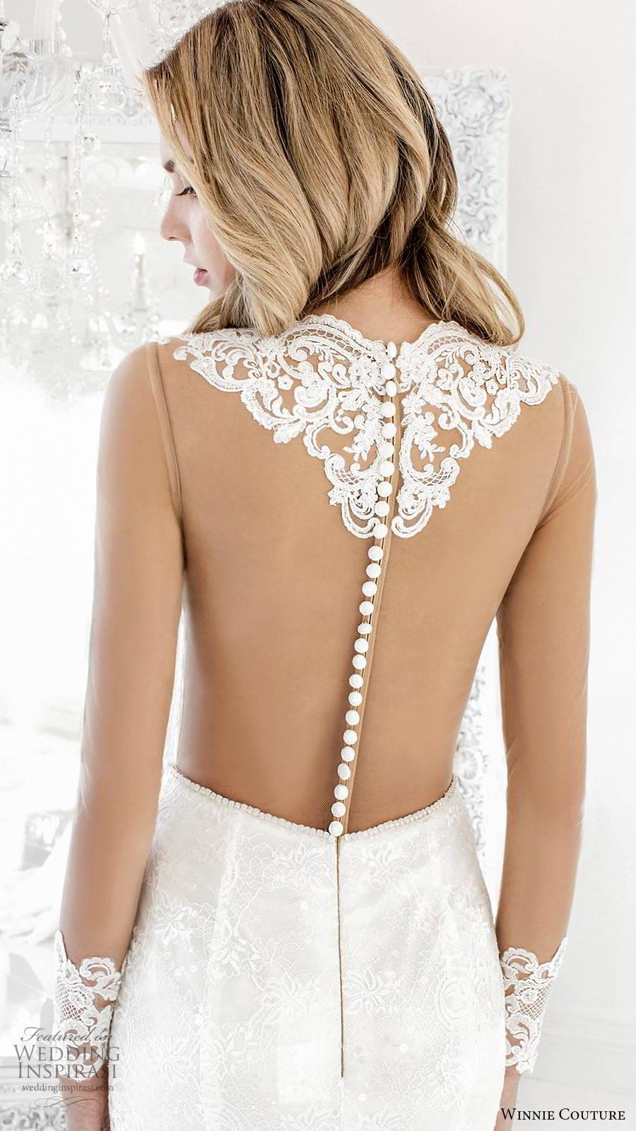 winnie couture 2019 bridal illusion long sleeves jewel necklne cutout bodice fully embellished lace elegant fit flare mermaid wedding dress sheer back chapel train (1) bv