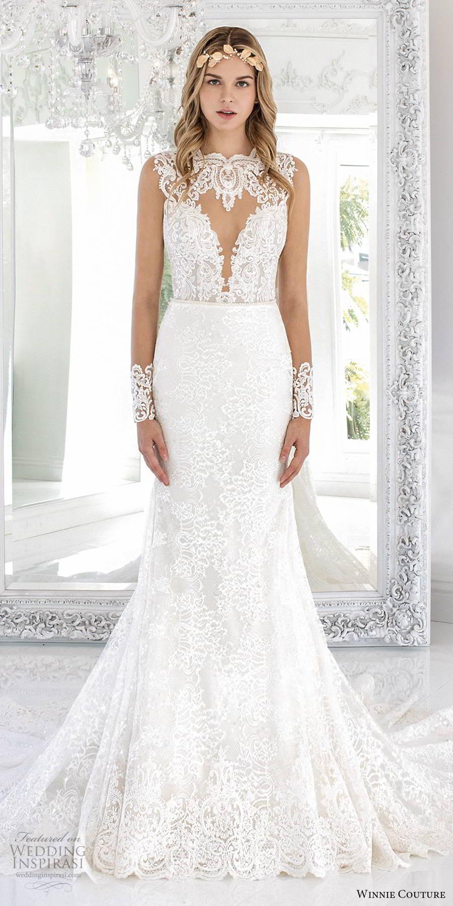 winnie couture 2019 bridal illusion long sleeves jewel necklne cutout bodice fully embellished lace elegant fit flare mermaid wedding dress sheer back chapel train (1) mv