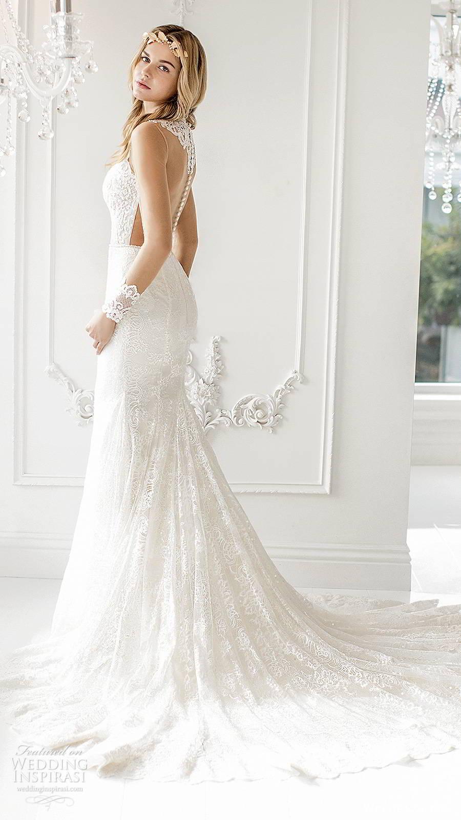 winnie couture 2019 bridal illusion long sleeves jewel necklne cutout bodice fully embellished lace elegant fit flare mermaid wedding dress sheer back chapel train (1) sv