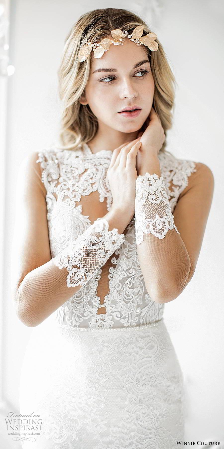 winnie couture 2019 bridal illusion long sleeves jewel necklne cutout bodice fully embellished lace elegant fit flare mermaid wedding dress sheer back chapel train (1) zv