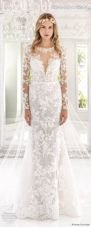 winnie couture 2019 bridal illusion long sleeves sheer bateau sweetheart neckline fully embellished lace fit flare mermaid wedding dress (4) mv