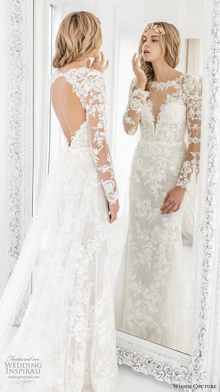 winnie couture 2019 bridal illusion long sleeves sheer bateau sweetheart neckline fully embellished lace fit flare mermaid wedding dress keyhole back chapel train (4) bv