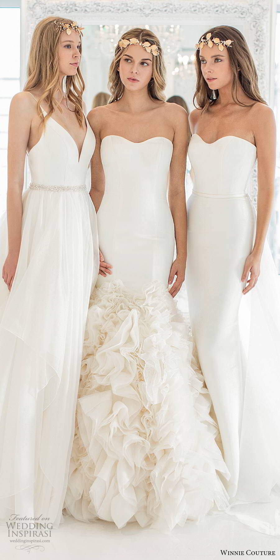 winnie couture 2019 bridal long sleeve shrug strapless semi sweetheart clean bodice ruffle skirt elegant mermaid wedding dress (18) fv