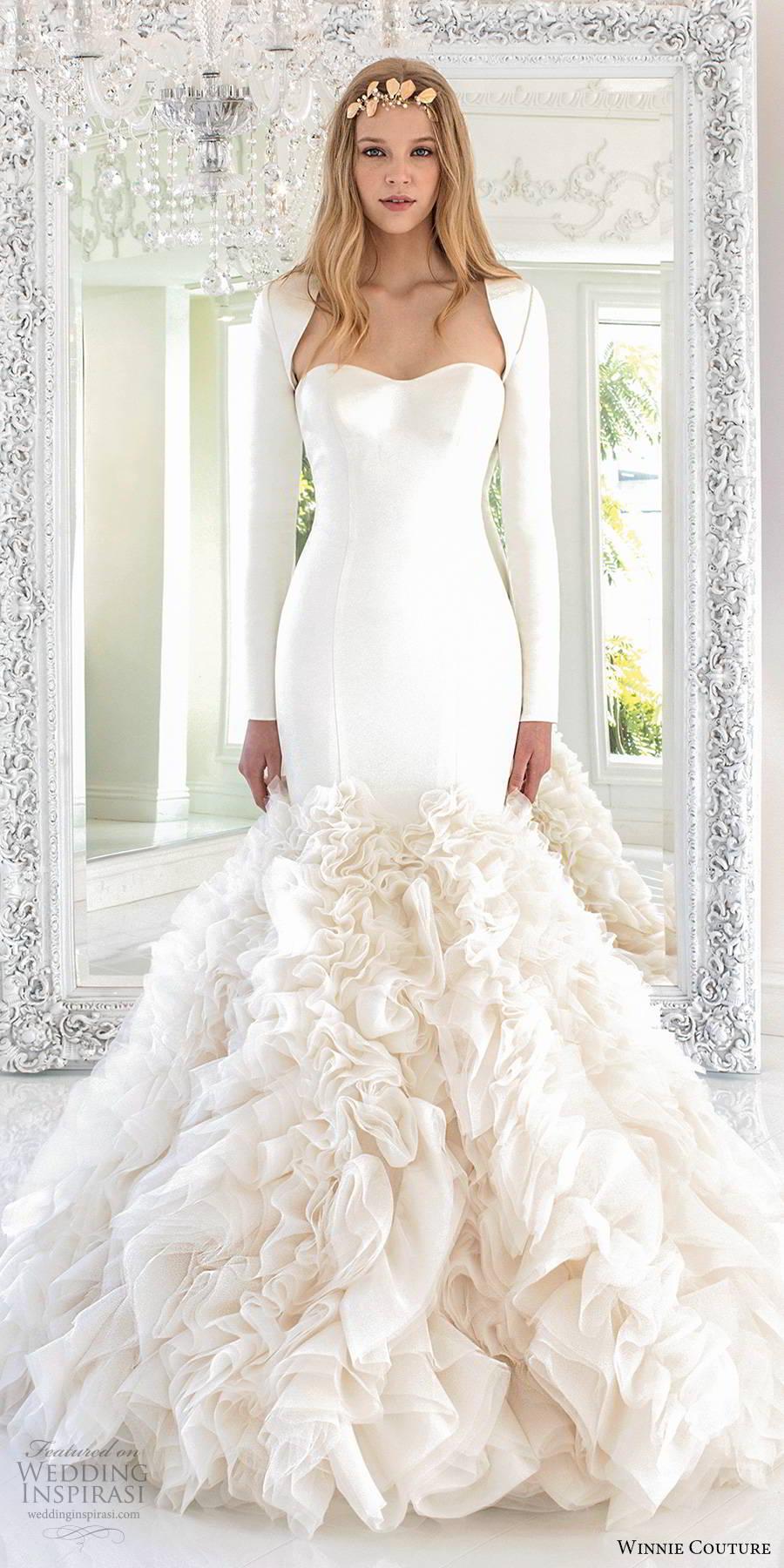 winnie couture 2019 bridal long sleeve shrug strapless semi sweetheart clean bodice ruffle skirt elegant mermaid wedding dress (18) mv