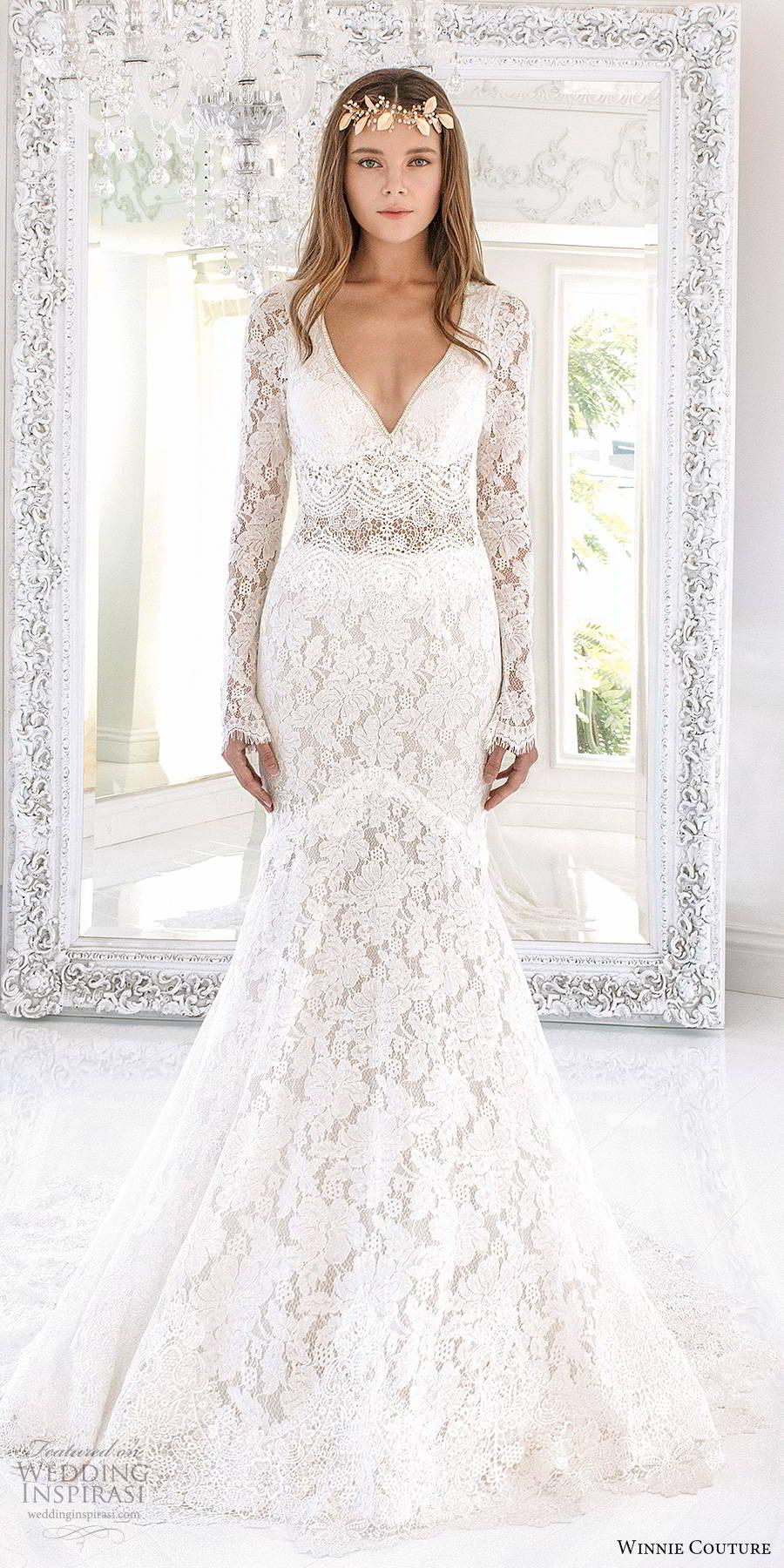 winnie couture 2019 bridal long sleeves deep v neckline fully embellished lace elegant boho fit flare mermaid wedding dress keyhole back (6) mv