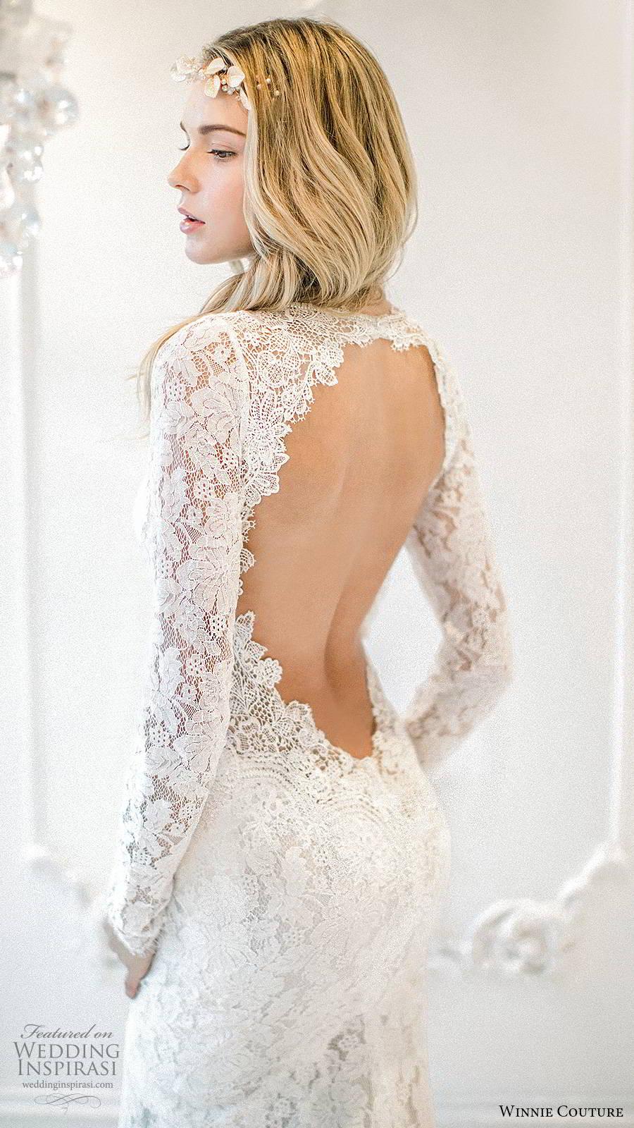 winnie couture 2019 bridal long sleeves deep v neckline fully embellished lace elegant boho fit flare mermaid wedding dress keyhole back (6) zbv