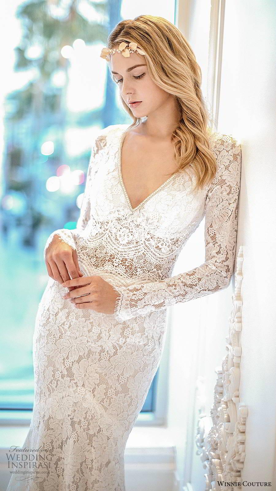 winnie couture 2019 bridal long sleeves deep v neckline fully embellished lace elegant boho fit flare mermaid wedding dress keyhole back (6) zv