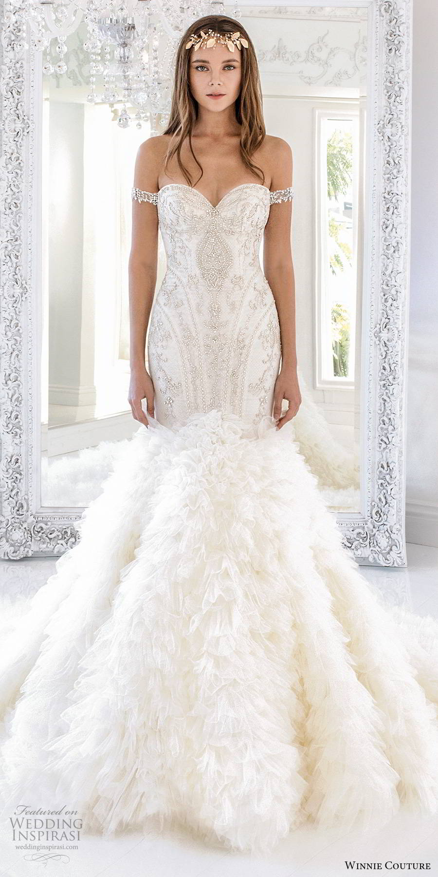 winnie couture 2019 bridal off shoulder straps sweetheart neckline heavily embellished bodice ruffle skirt glitzy mermaid wedding dress chapel train (12) mv