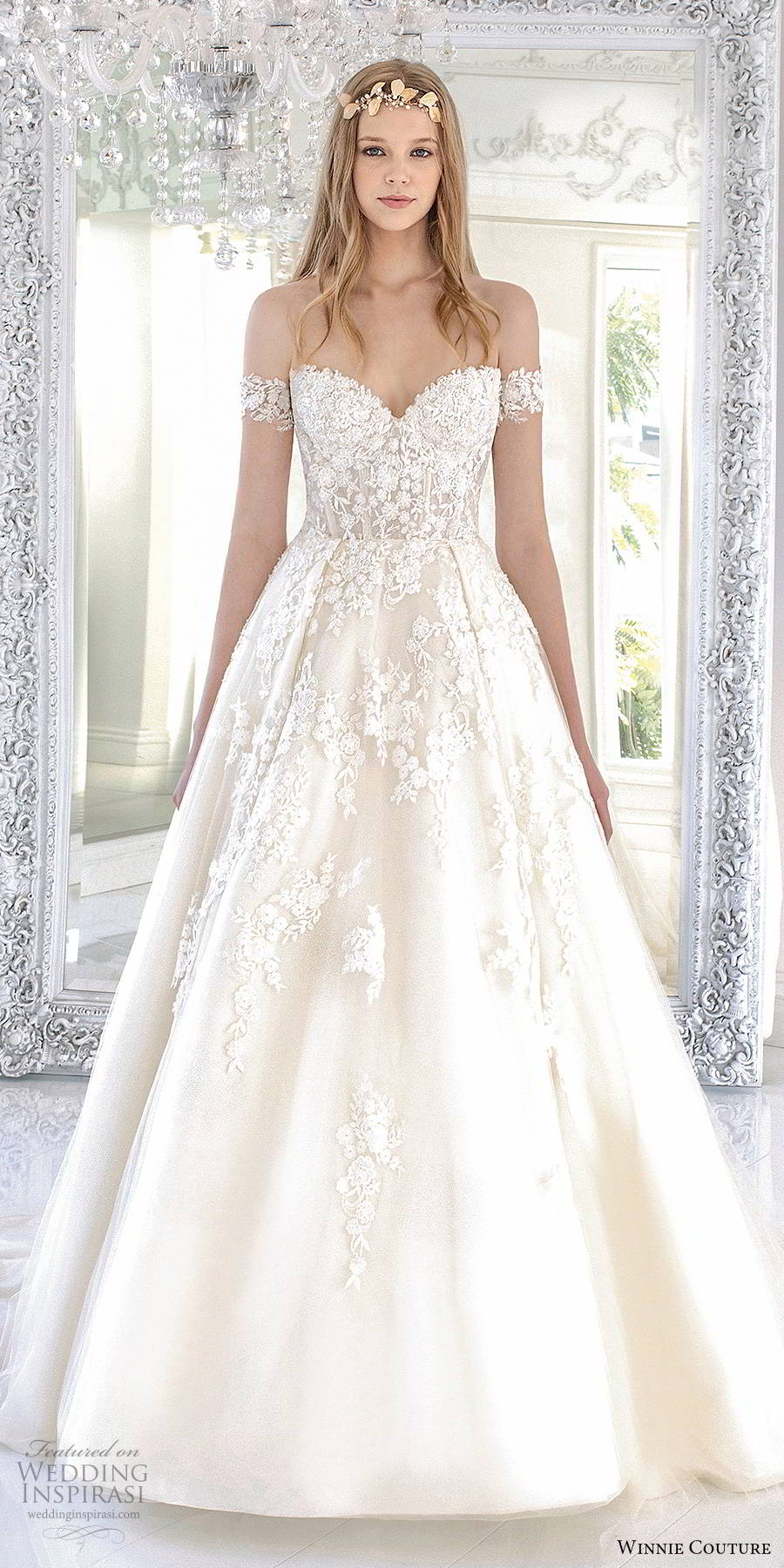 winnie couture 2019 bridal off shoulder sweetheart neckline fully embellished lace romantic a line ball gown wedding dress chapel train (13) mv