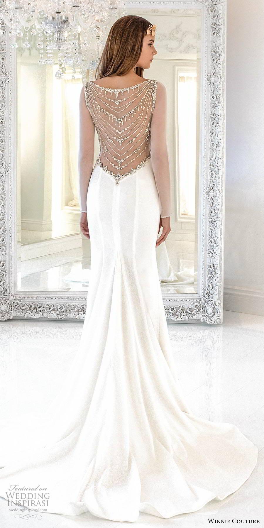 winnie couture 2019 bridal sheer long sleeves bateau neckline clean minimalist sheath glam wedding dress illusion back chapel train (14) bv