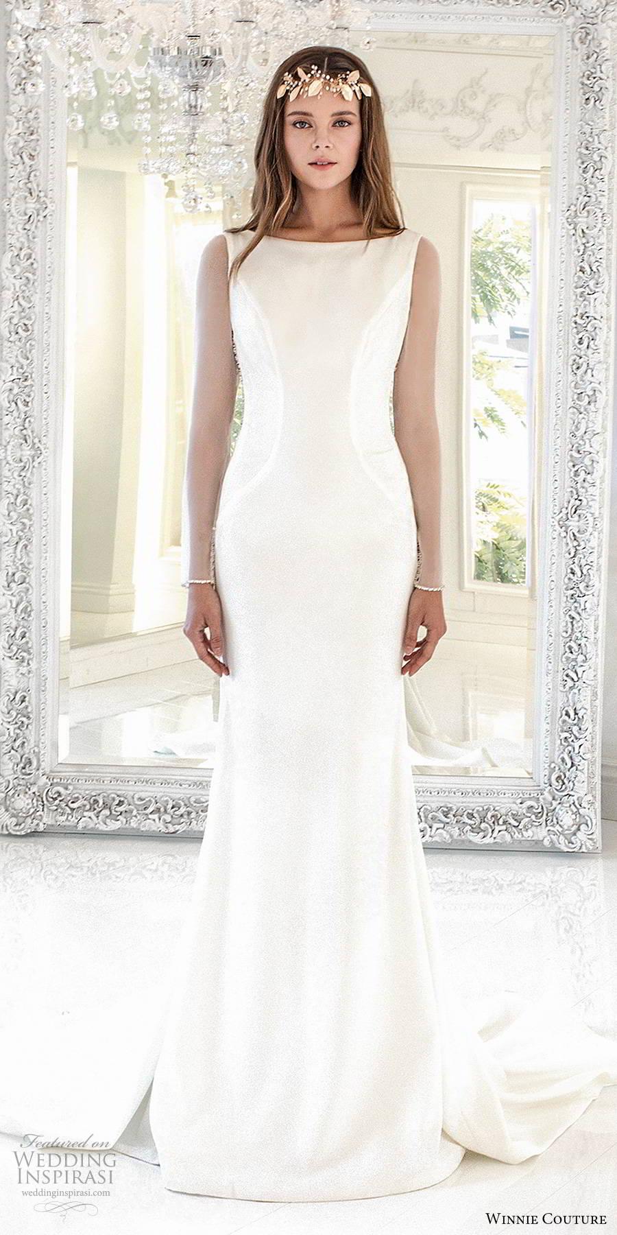 winnie couture 2019 bridal sheer long sleeves bateau neckline clean minimalist sheath glam wedding dress illusion back chapel train (14) mv