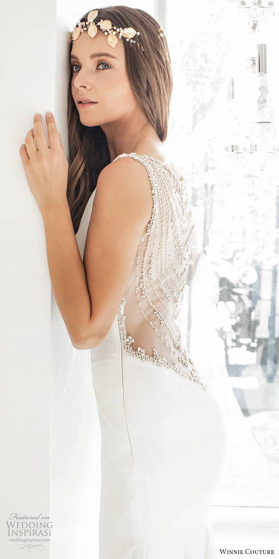 winnie couture 2019 bridal sheer long sleeves bateau neckline clean minimalist sheath glam wedding dress illusion back chapel train (14) zsv