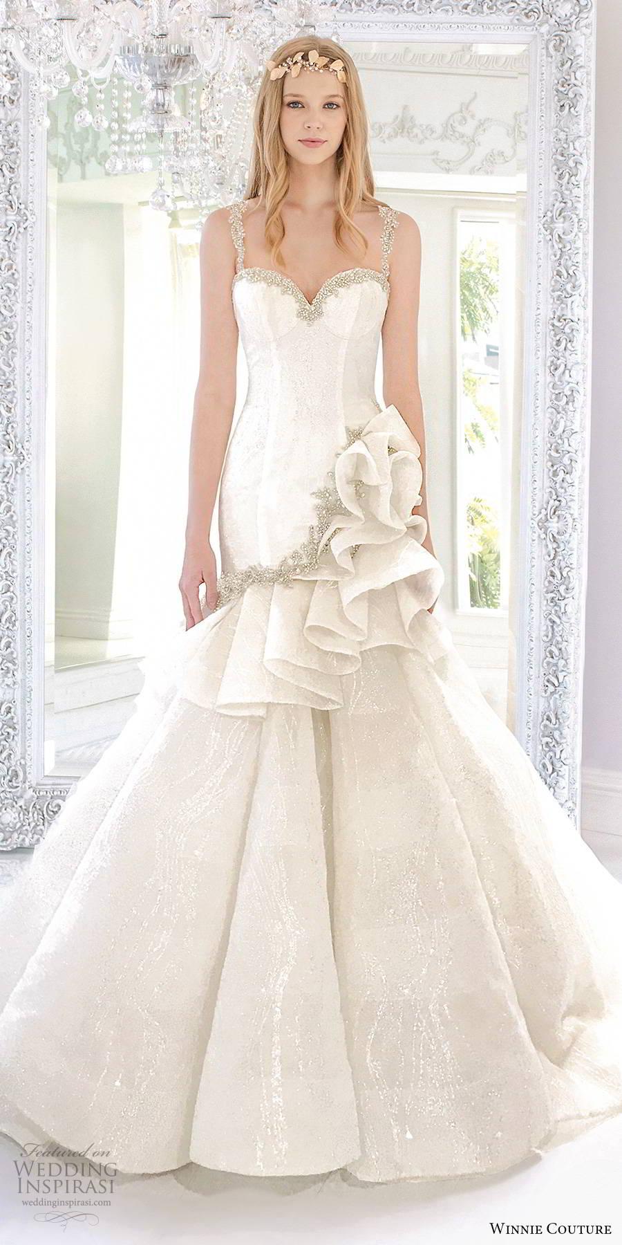 winnie couture 2019 bridal sleeveless beaded straps embellished sweetheart neckline elegant fit flare mermaid wedding dress (16) mv