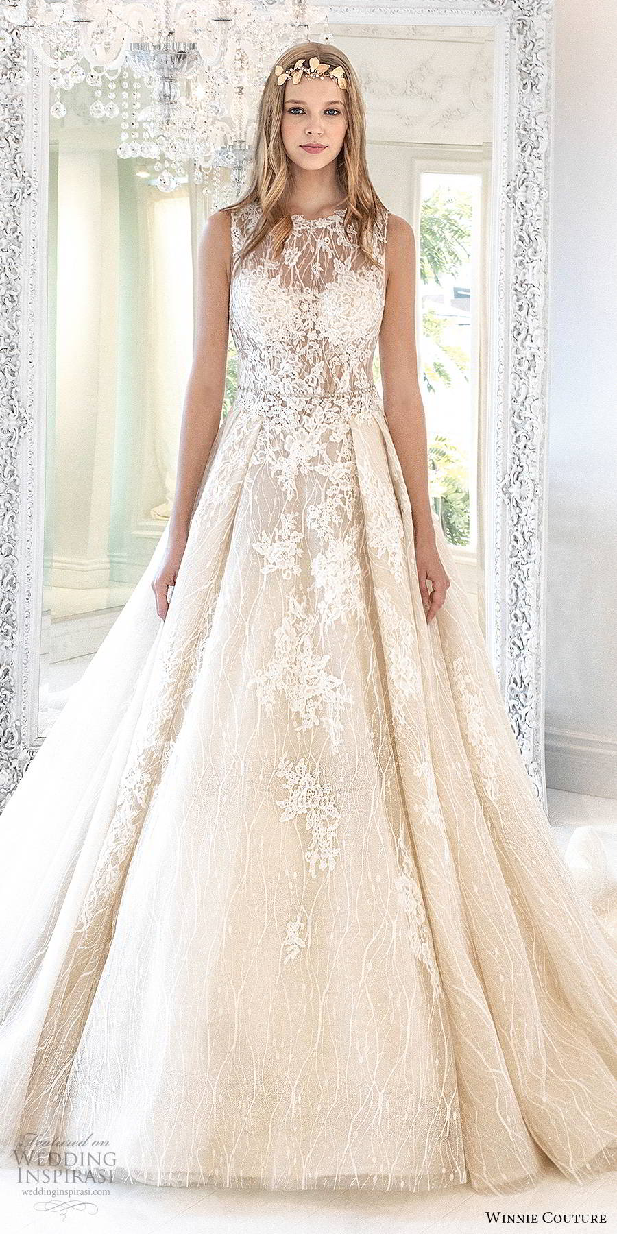 winnie couture 2019 bridal sleeveless illusion jewel sweetheart neckline fully embellished lace romantic a line wedding dress ball gown skirt blush chapel train (3) mv