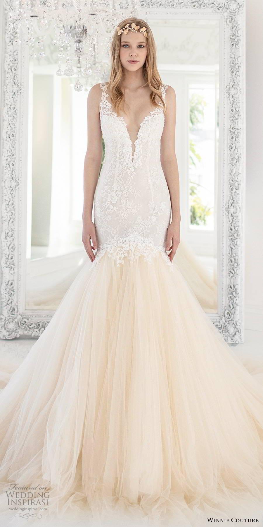 winnie couture 2019 bridal sleeveless illusion lace straps plunging v neckline embellished lace bodice fit flare mermaid wedding dress sheer back chapel train (10) mv
