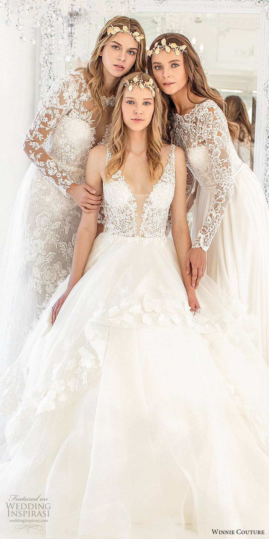 winnie couture 2019 bridal sleeveless straps plunging v neckline embellished bodice tiered skirt a line ball gown romantic wedding dress chapel train (2) fv