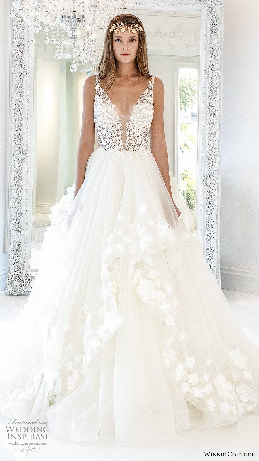 winnie couture 2019 bridal sleeveless straps plunging v neckline embellished bodice tiered skirt a line ball gown romantic wedding dress chapel train (2) mv