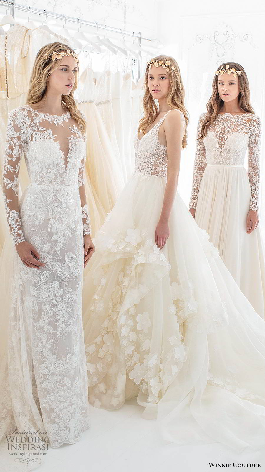 winnie couture 2019 bridal sleeveless straps plunging v neckline embellished bodice tiered skirt a line ball gown romantic wedding dress chapel train (2) sv