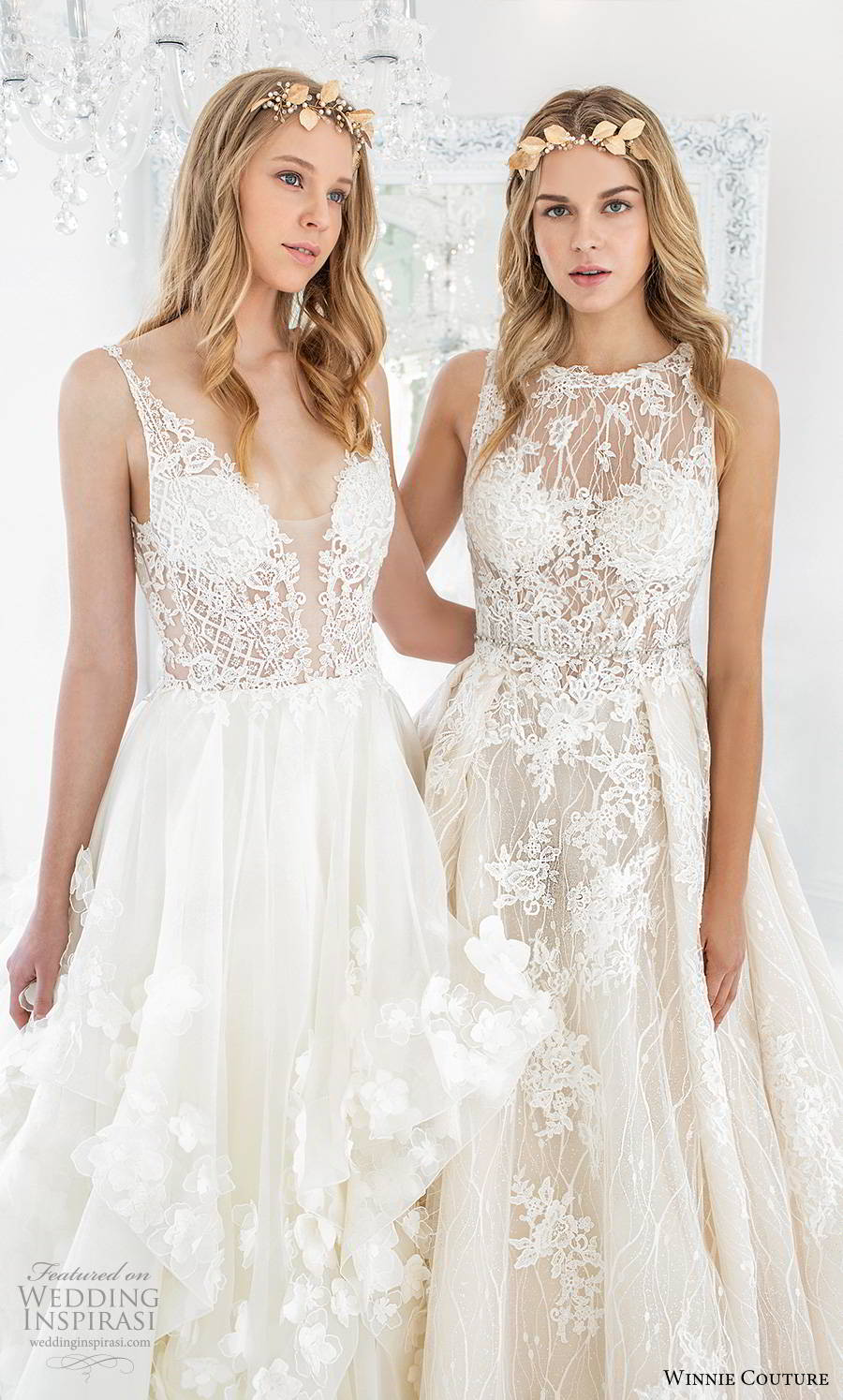 winnie couture 2019 bridal sleeveless straps plunging v neckline embellished bodice tiered skirt a line ball gown romantic wedding dress chapel train (2) zv