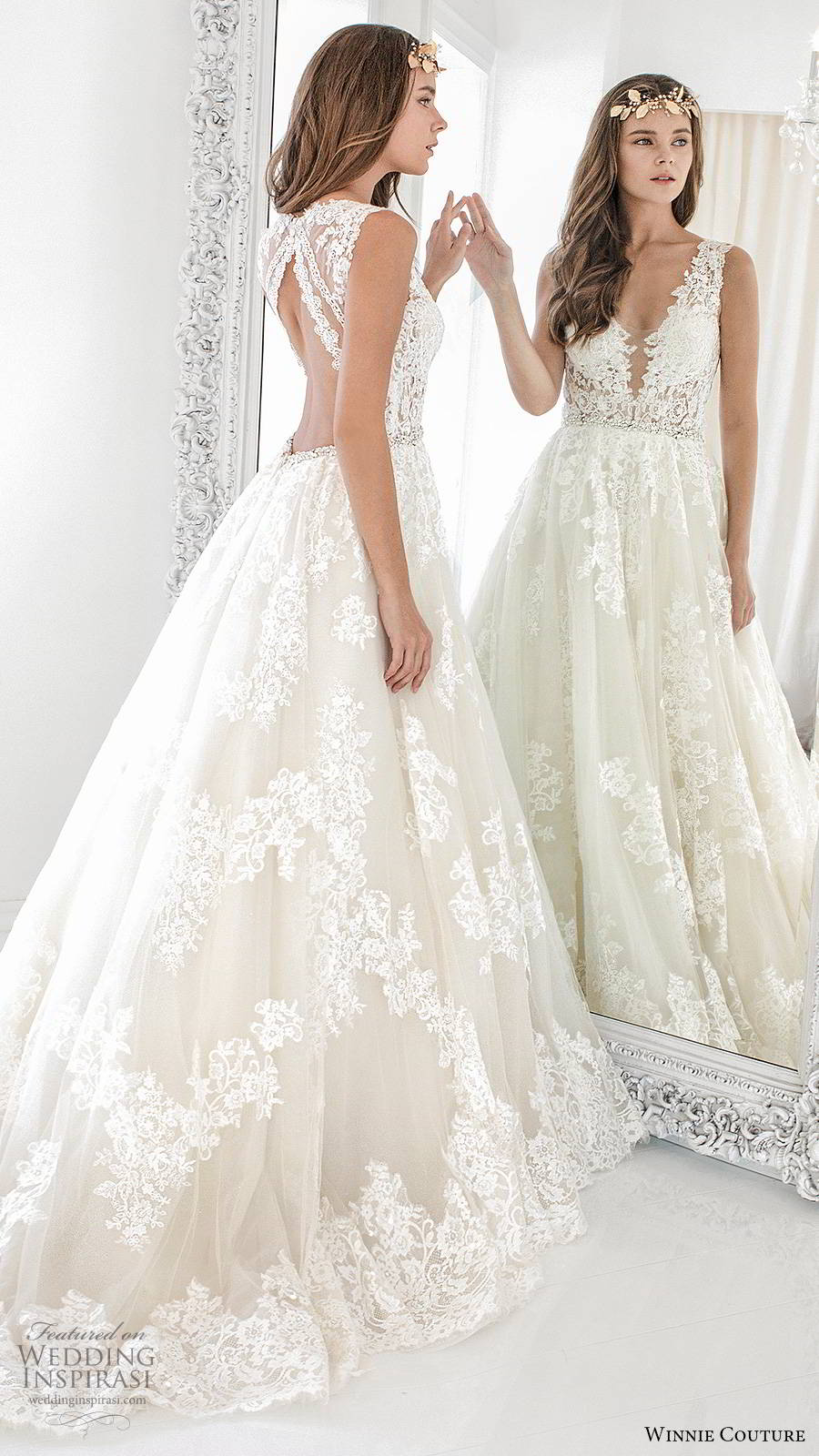 winnie couture 2019 bridal sleeveless thick straps plunging v neckline fully embellished lace romantic a line ball gown wedding dress keyhole back chapel train (5) bv