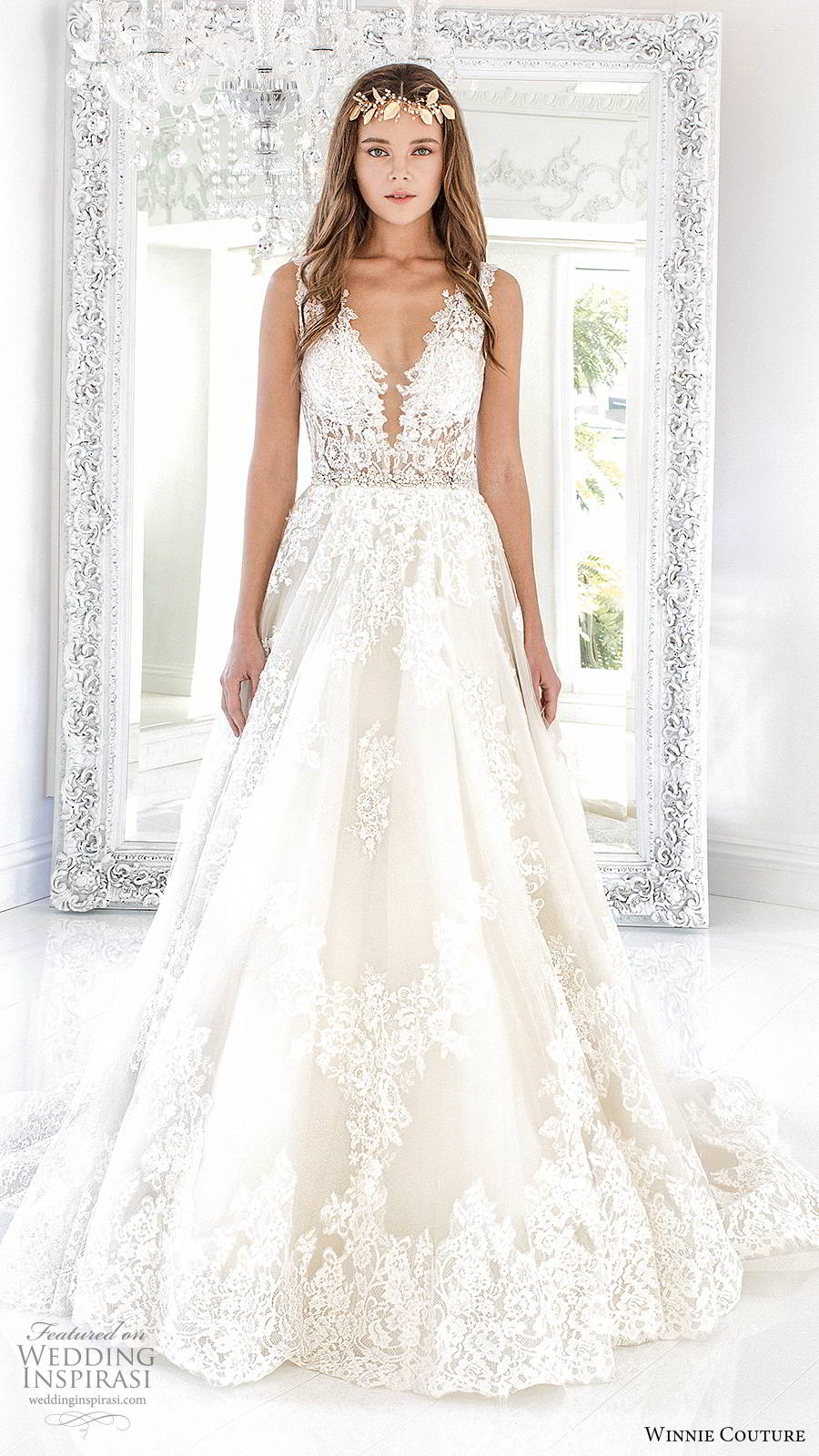 winnie couture 2019 bridal sleeveless thick straps plunging v neckline fully embellished lace romantic a line ball gown wedding dress keyhole back chapel train (5) mv