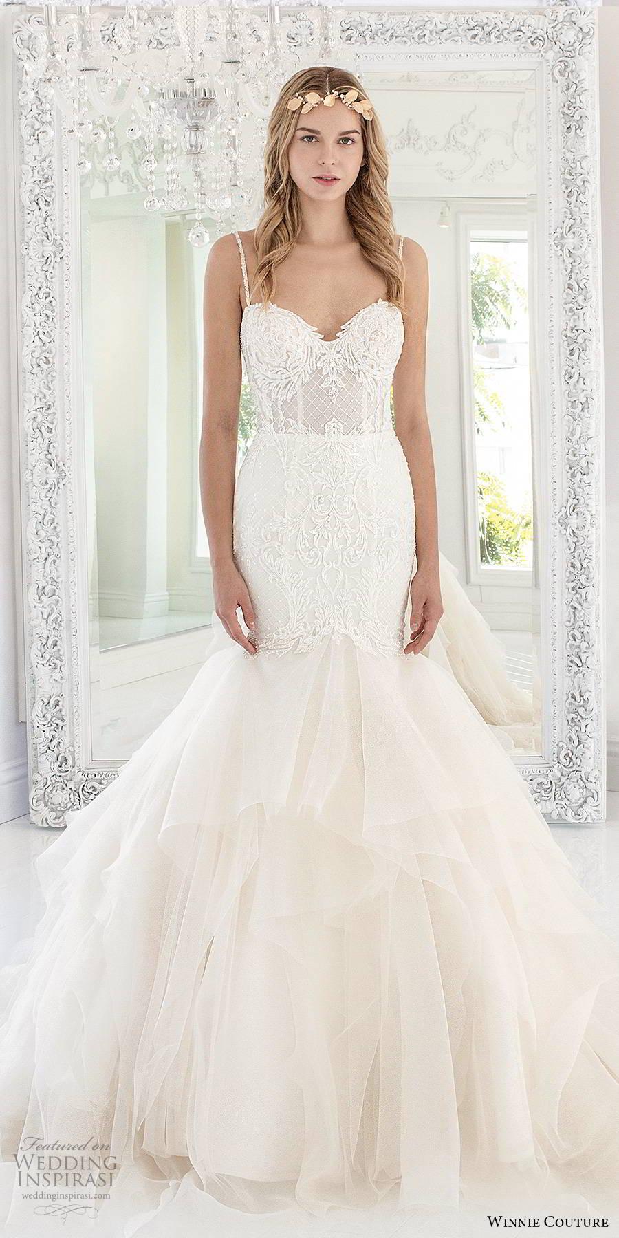 winnie couture 2019 bridal sleeveless thin straps sweetheart neckline tiered skirt romantic fit flare mermaid wedding dress (9) mv