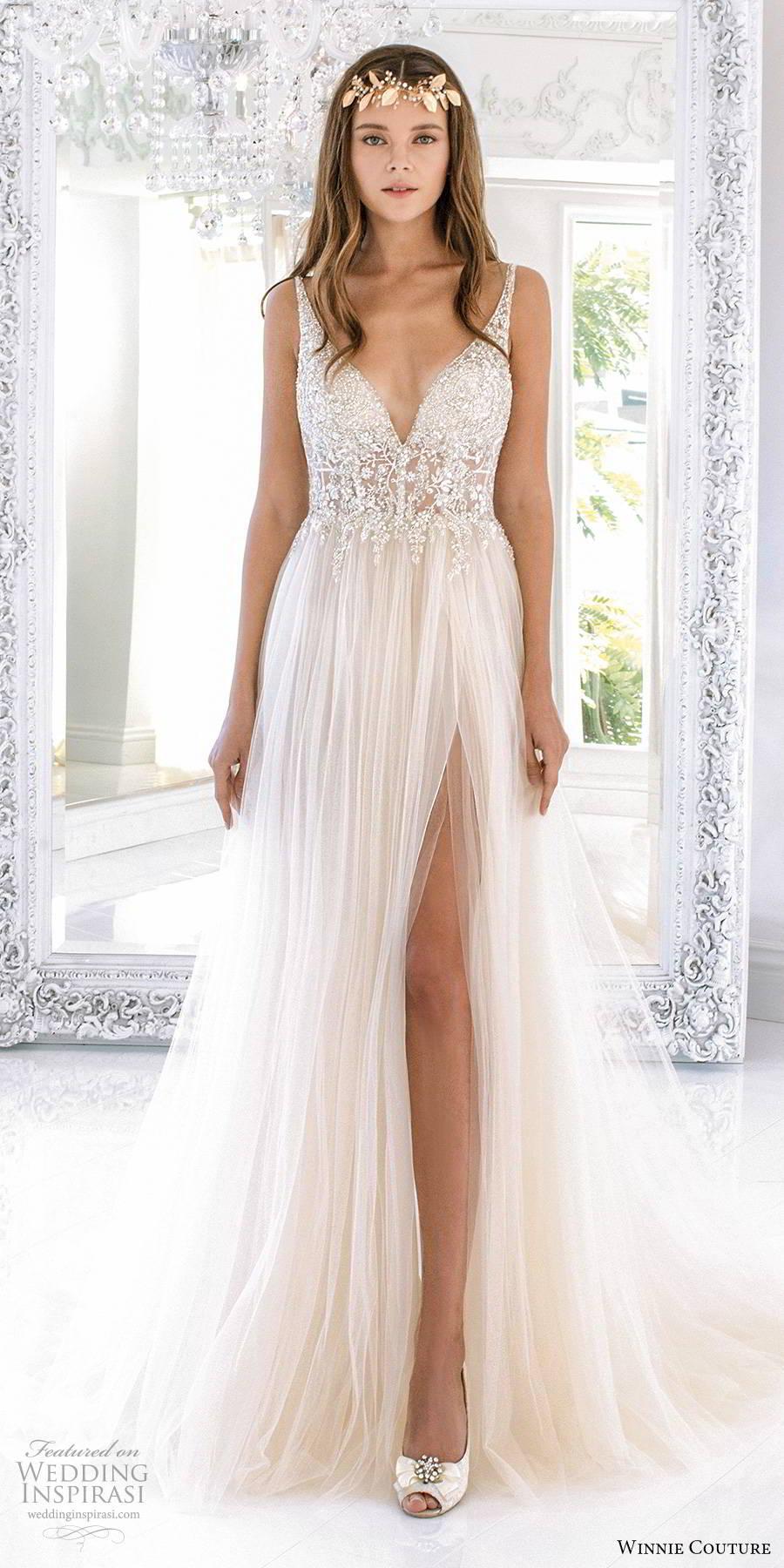 winnie couture 2019 bridal sleevless straps deep v neckline embellished sheer bodice romantic soft a line wedding dress slit skirt (9) mv