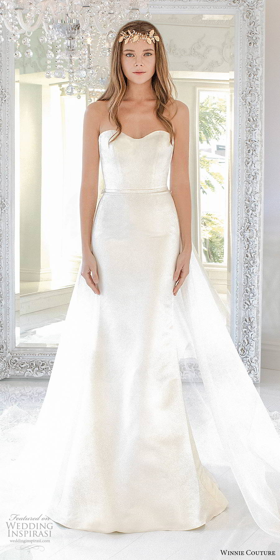 winnie couture 2019 bridal strapless semi sweetheart neckline elegant minimalist clean mermaid sheath wedding dress a line overskirt chapel train (17) mv