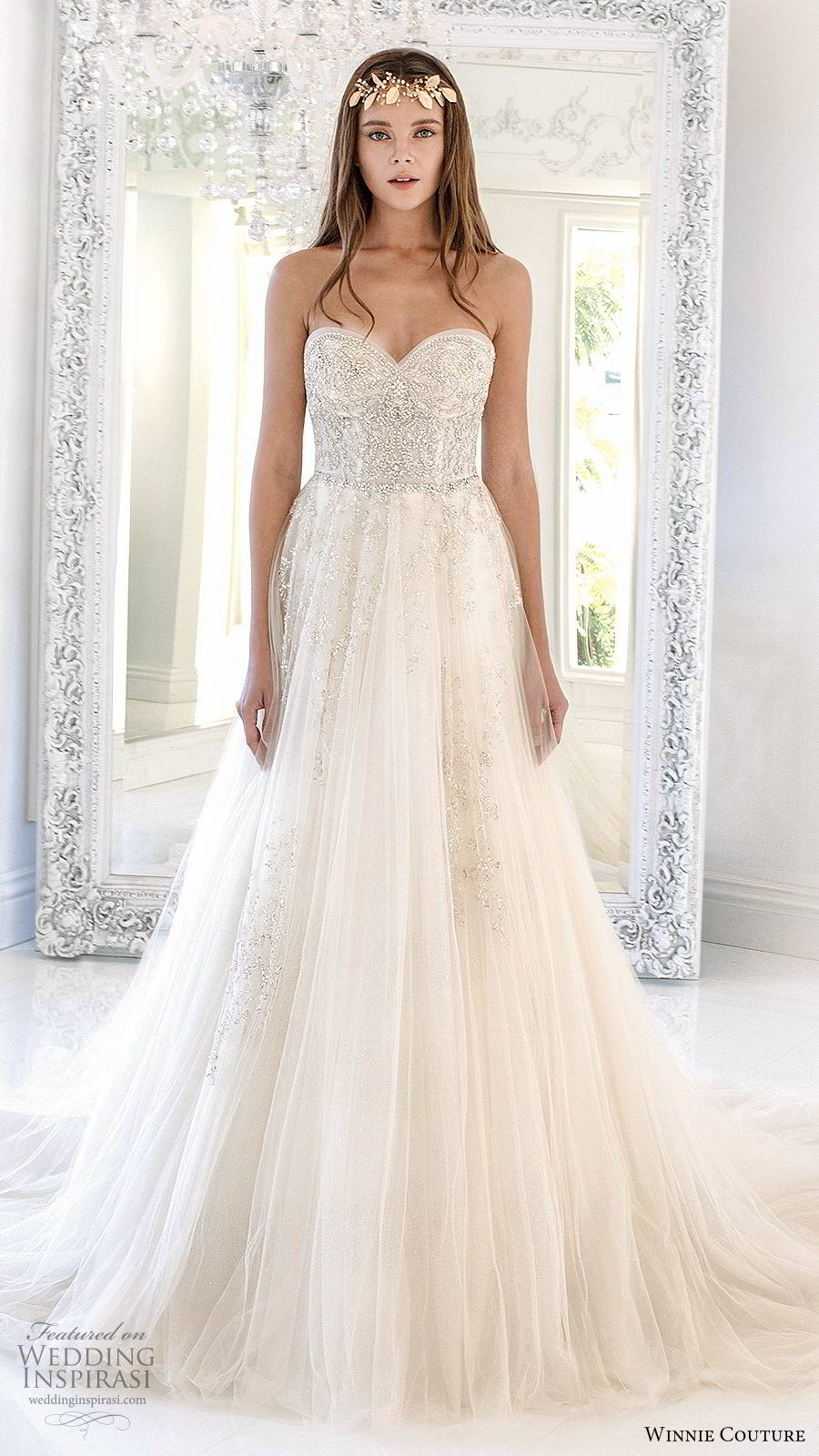 winnie couture 2019 bridal strapless sweetheart fully embellished  a line ball gown glitzy romantic wedding dress chapel train (7) mv