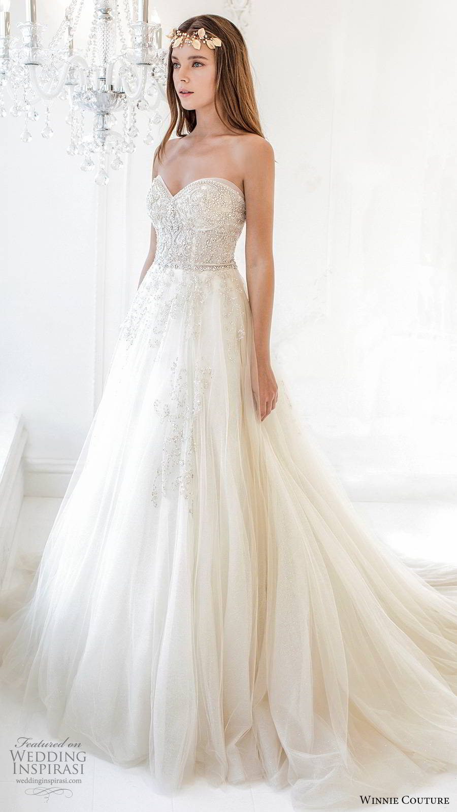 winnie couture 2019 bridal strapless sweetheart fully embellished  a line ball gown glitzy romantic wedding dress chapel train (7) sv