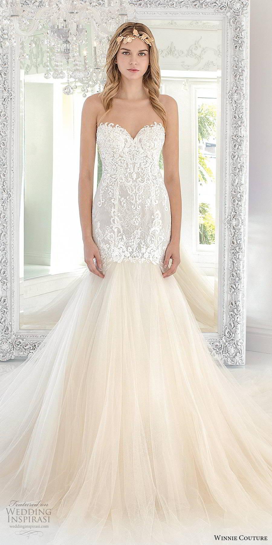 winnie couture 2019 bridal strapless sweetheart neckline heavily embellished bodice elegant fit flare mermaid wedding dress chapel train (15) mv