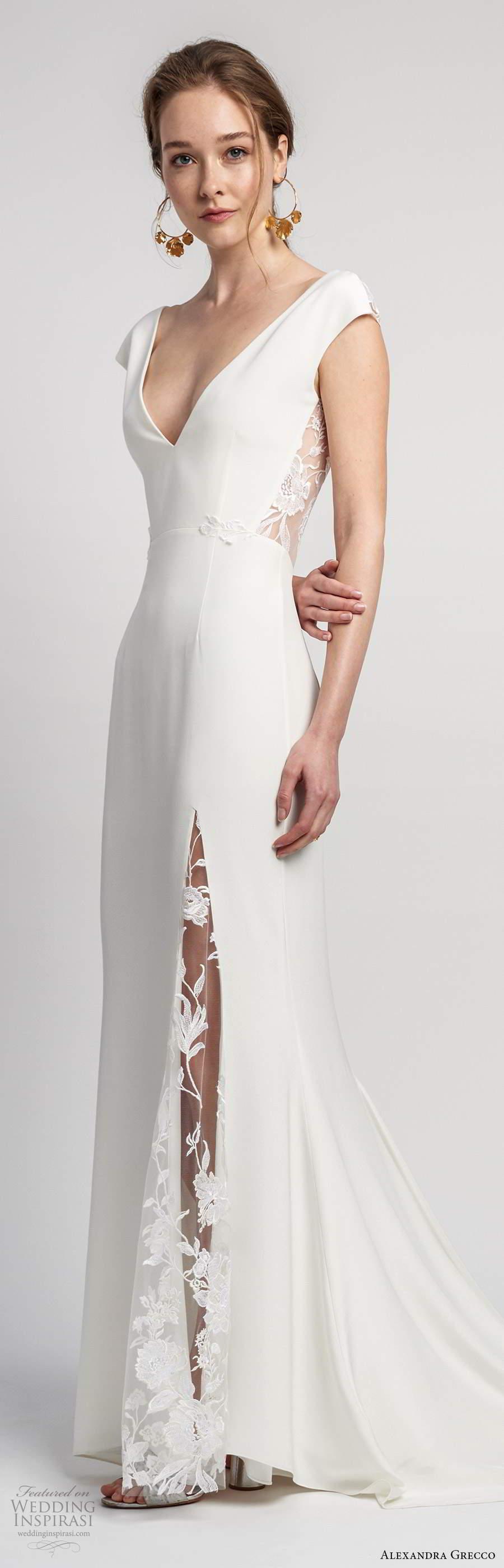alexandra grecco 2020 bridal cap sleeves deep v neckline clean minimalist modified a line wedding dress slit skirt sheer v back cathedral train (7) lv