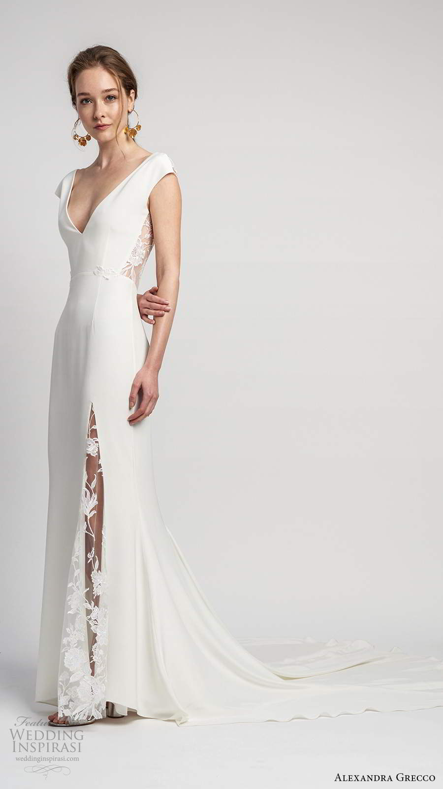 alexandra grecco 2020 bridal cap sleeves deep v neckline clean minimalist modified a line wedding dress slit skirt sheer v back cathedral train (7) mv