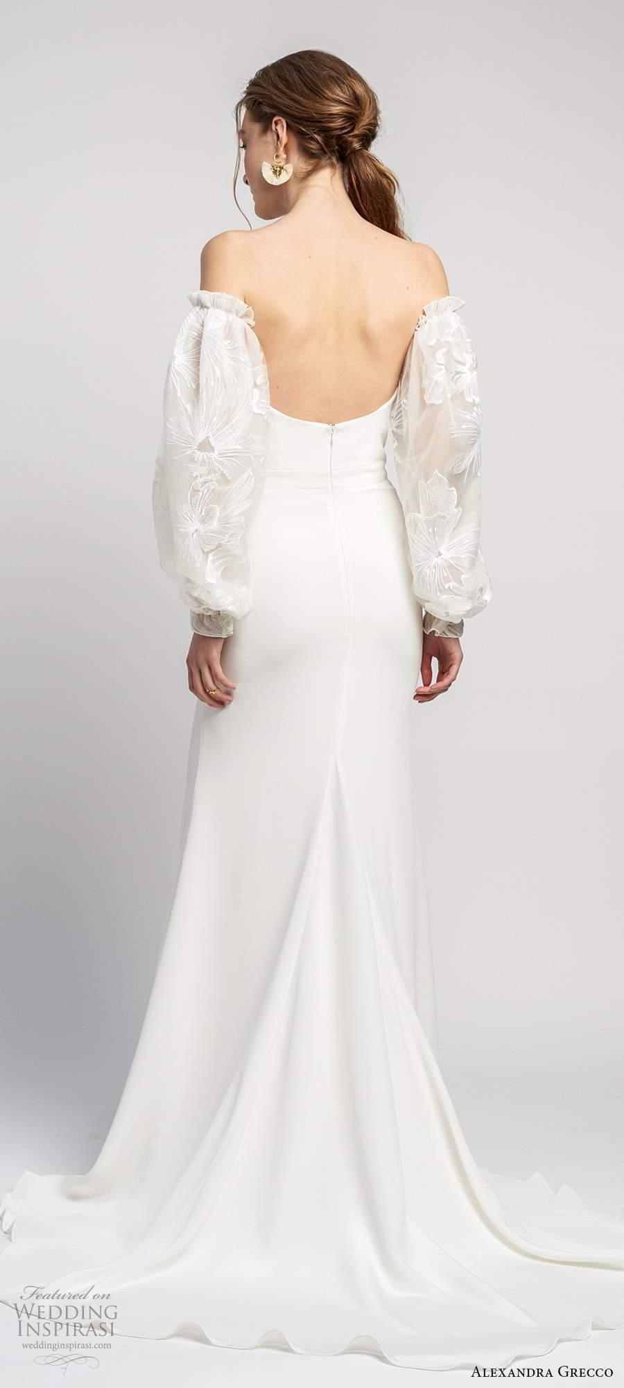 alexandra grecco 2020 bridal detached long puff sleeves strapless semi sweetheart neckline sheath trumpet mermaid clean minimalist wedding dress scoop back chapel train (5) bv