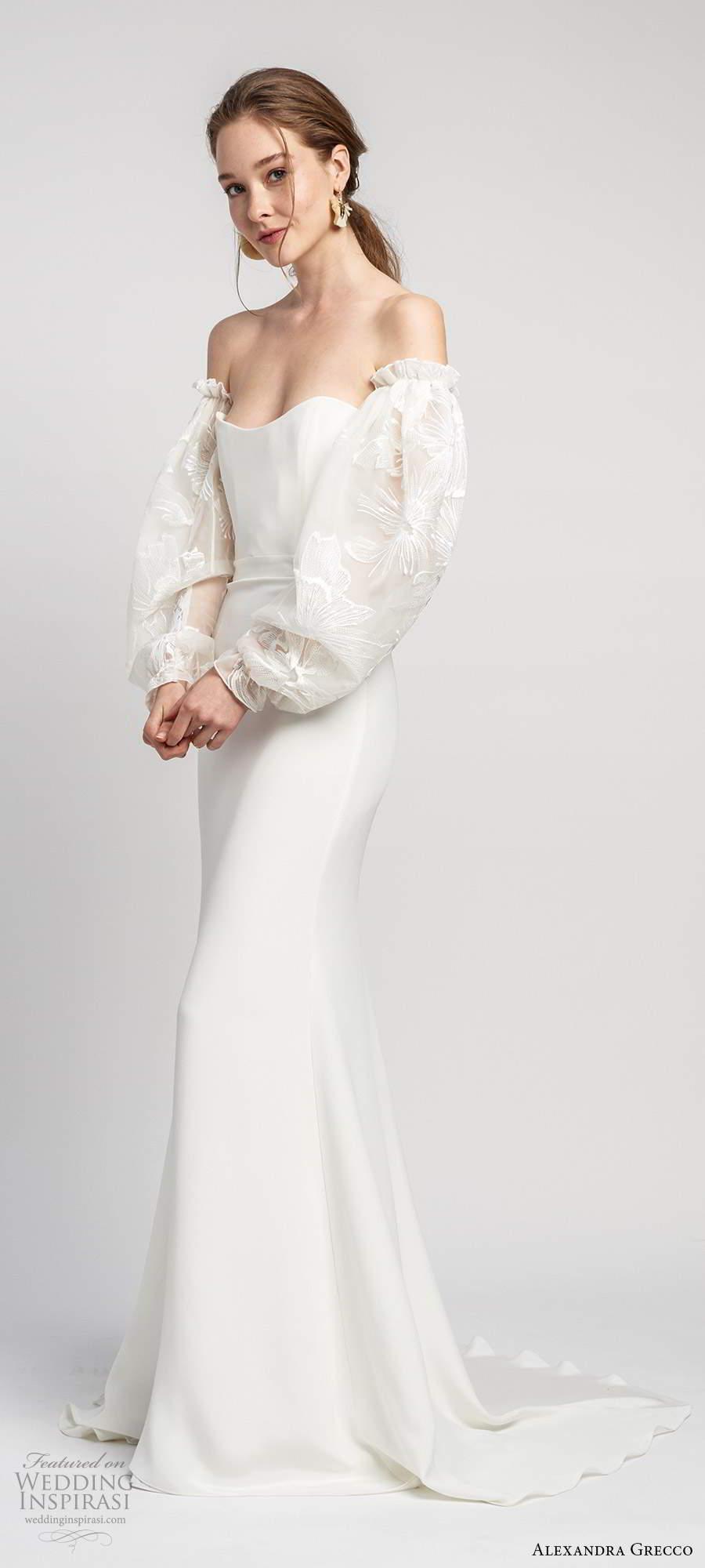 alexandra grecco 2020 bridal detached long puff sleeves strapless semi sweetheart neckline sheath trumpet mermaid clean minimalist wedding dress scoop back chapel train (5) mv