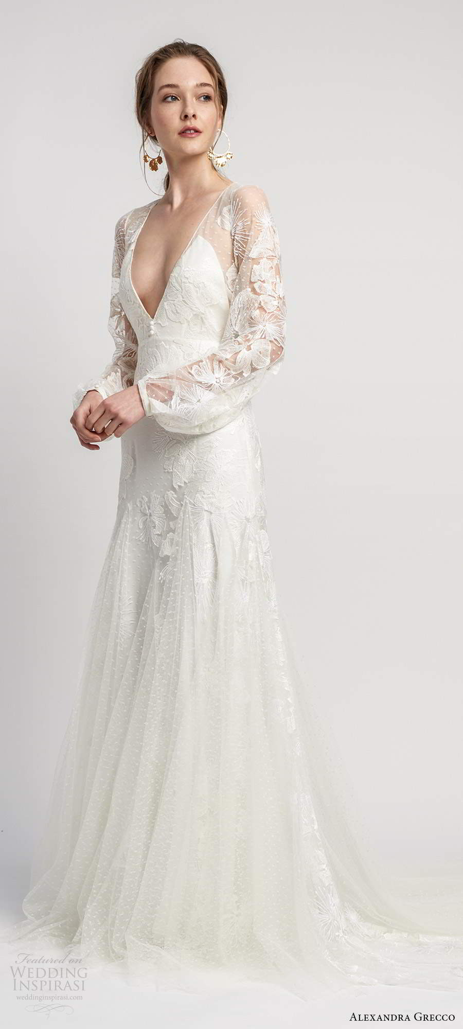 alexandra grecco 2020 bridal illusion long bishop sleeves plunging v neckline fully embellished lace fit flare mermaid boho wedding dress sheer back chapel train (2) mv